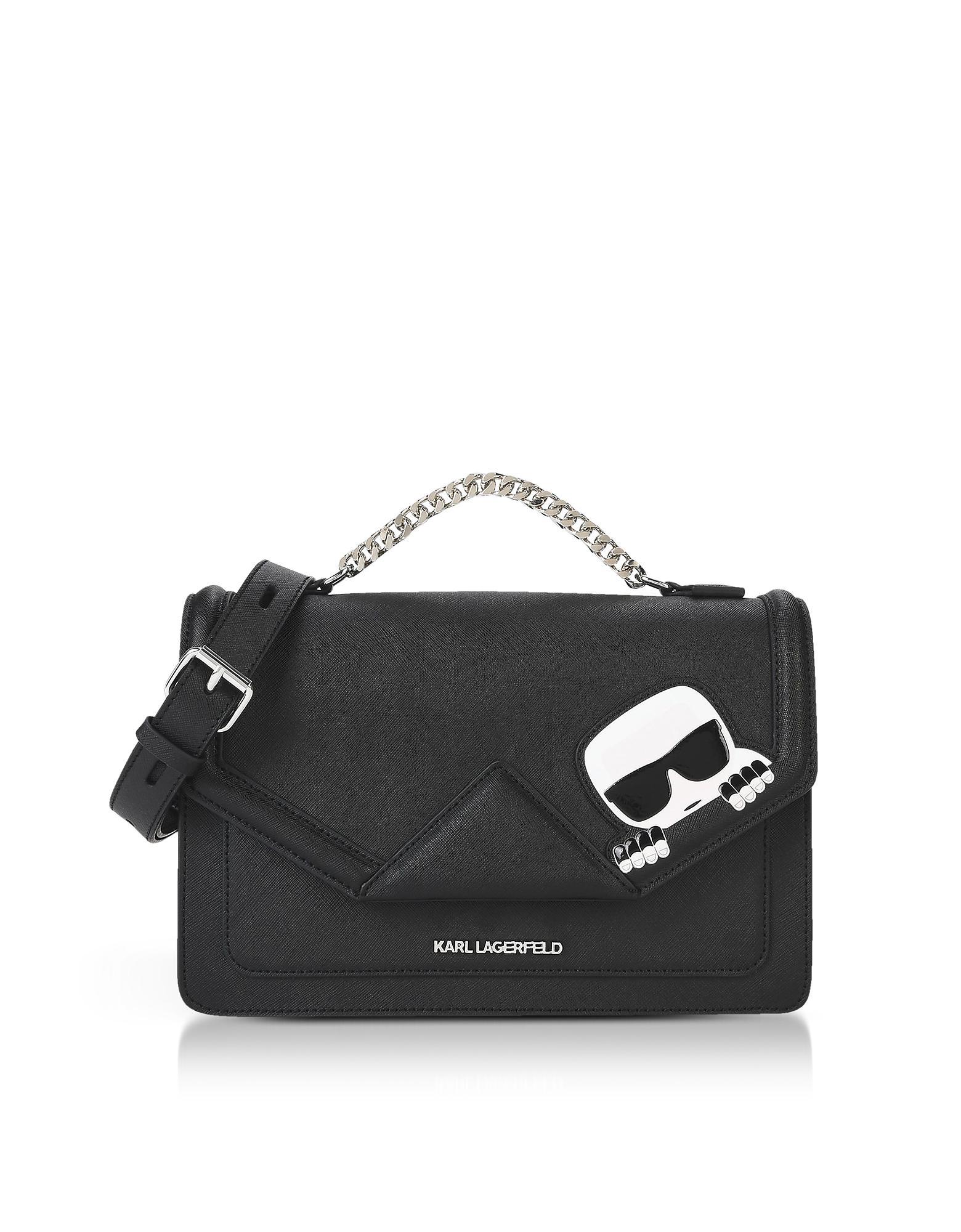 Karl Lagerfeld K ikonik Leather Shoulder Bag in Black - Save ... e9b2d7e3e2e9c