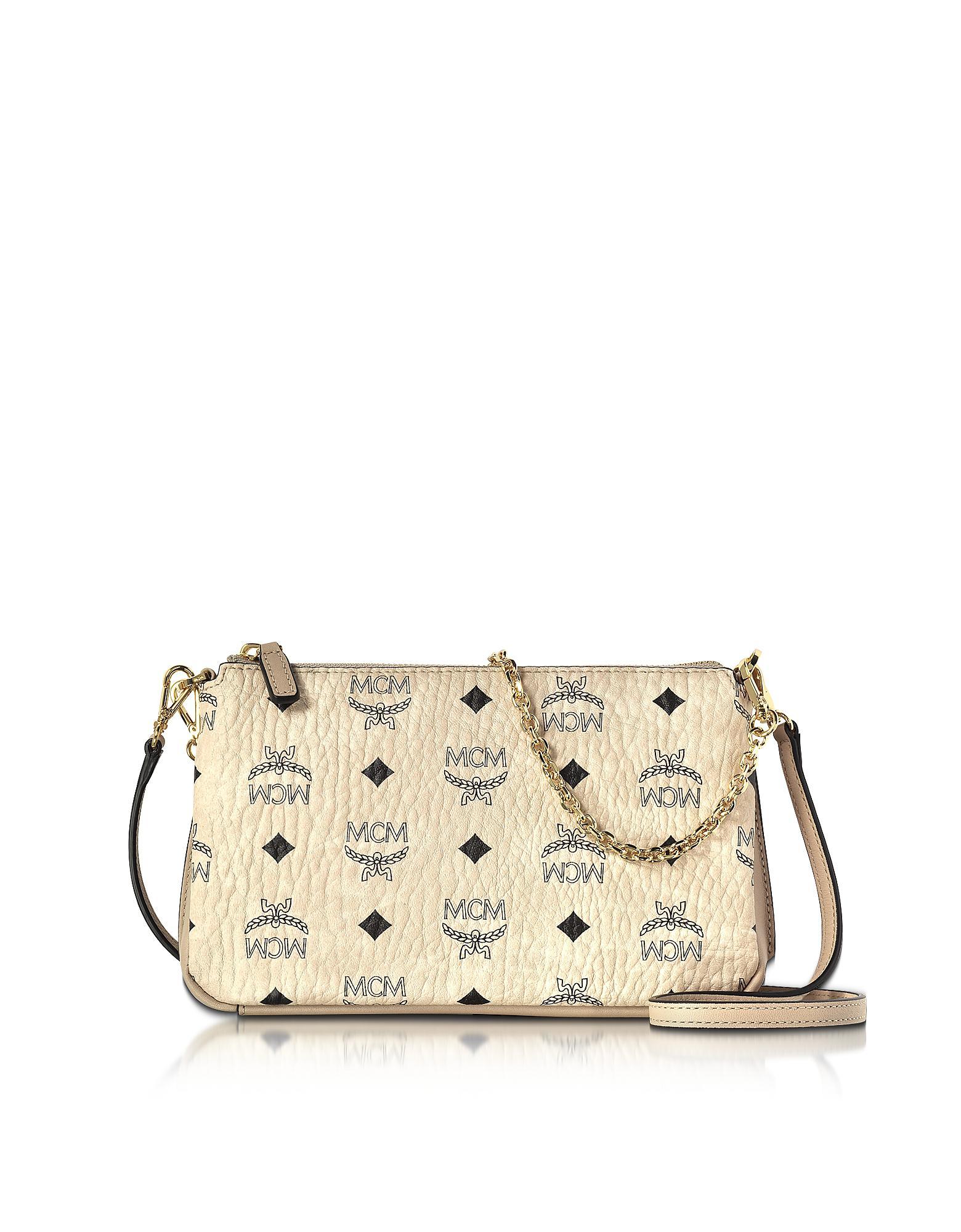 20c4b418a MCM Millie Visetos Medium Zip Crossbody Bag in Natural - Lyst
