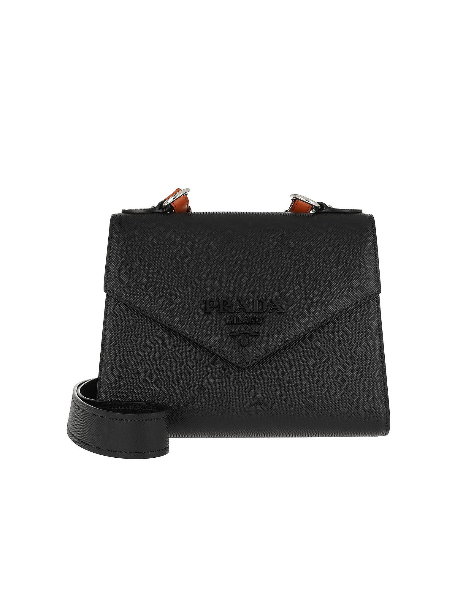 4313ab213587 Lyst - Prada Monochrome Saffiano Leather Bag Black papaya in Black