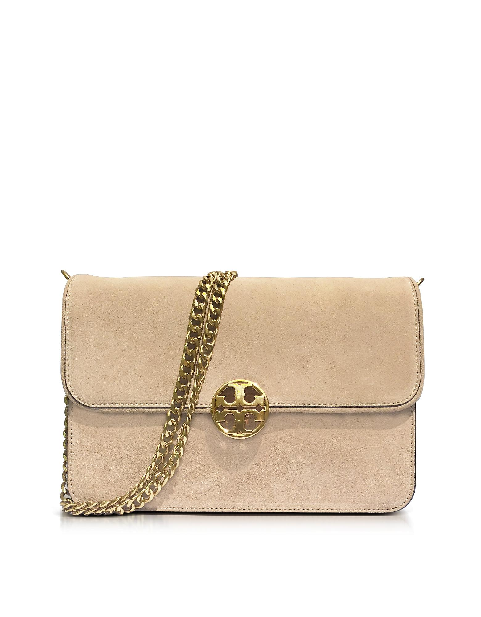 d05f06dcf Tory Burch Chelsea Stucco Suede Shoulder Bag in Natural - Lyst