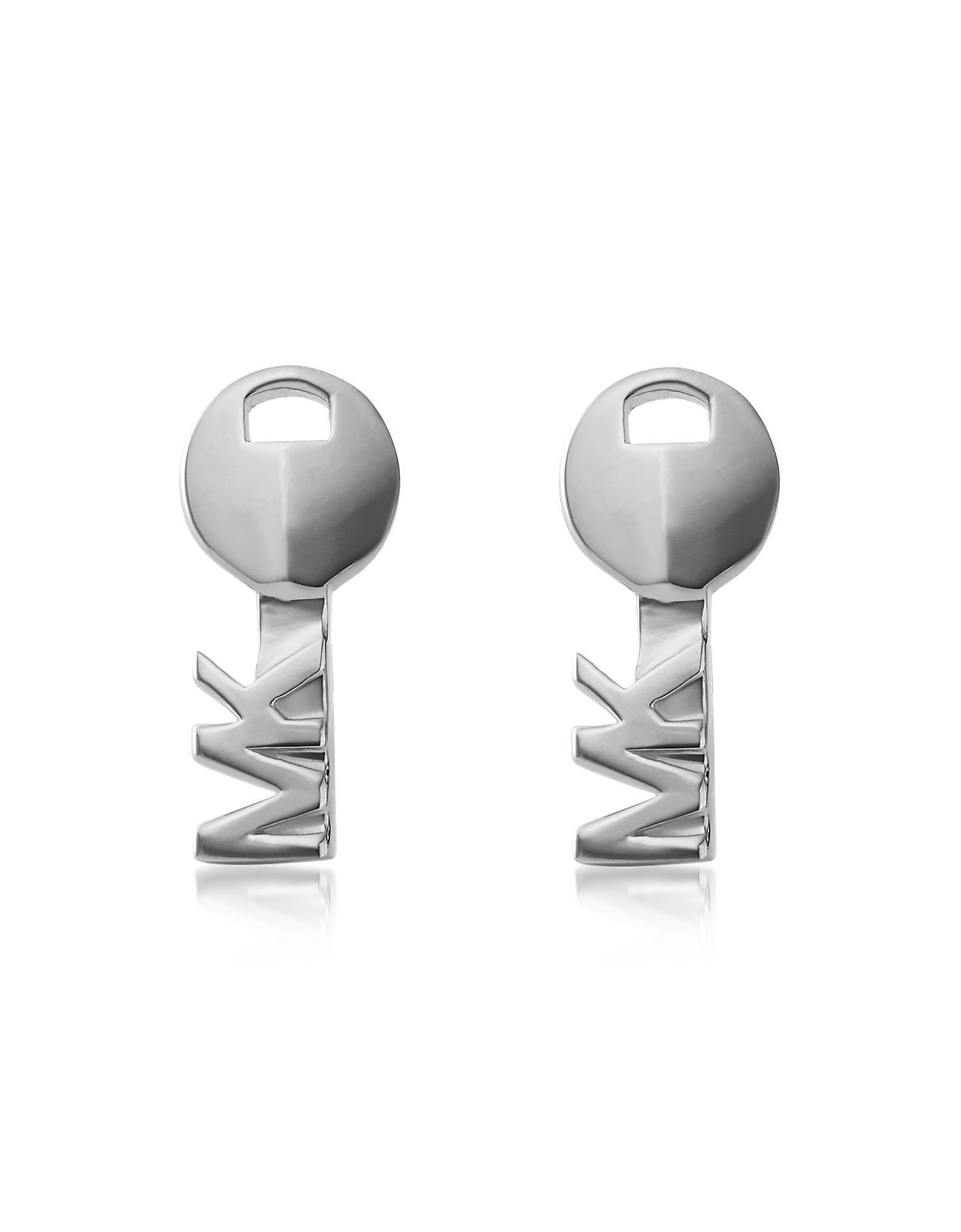 d4f9656a2 Lyst - Michael Kors Sterling Silver Key Stud Earrings in Metallic