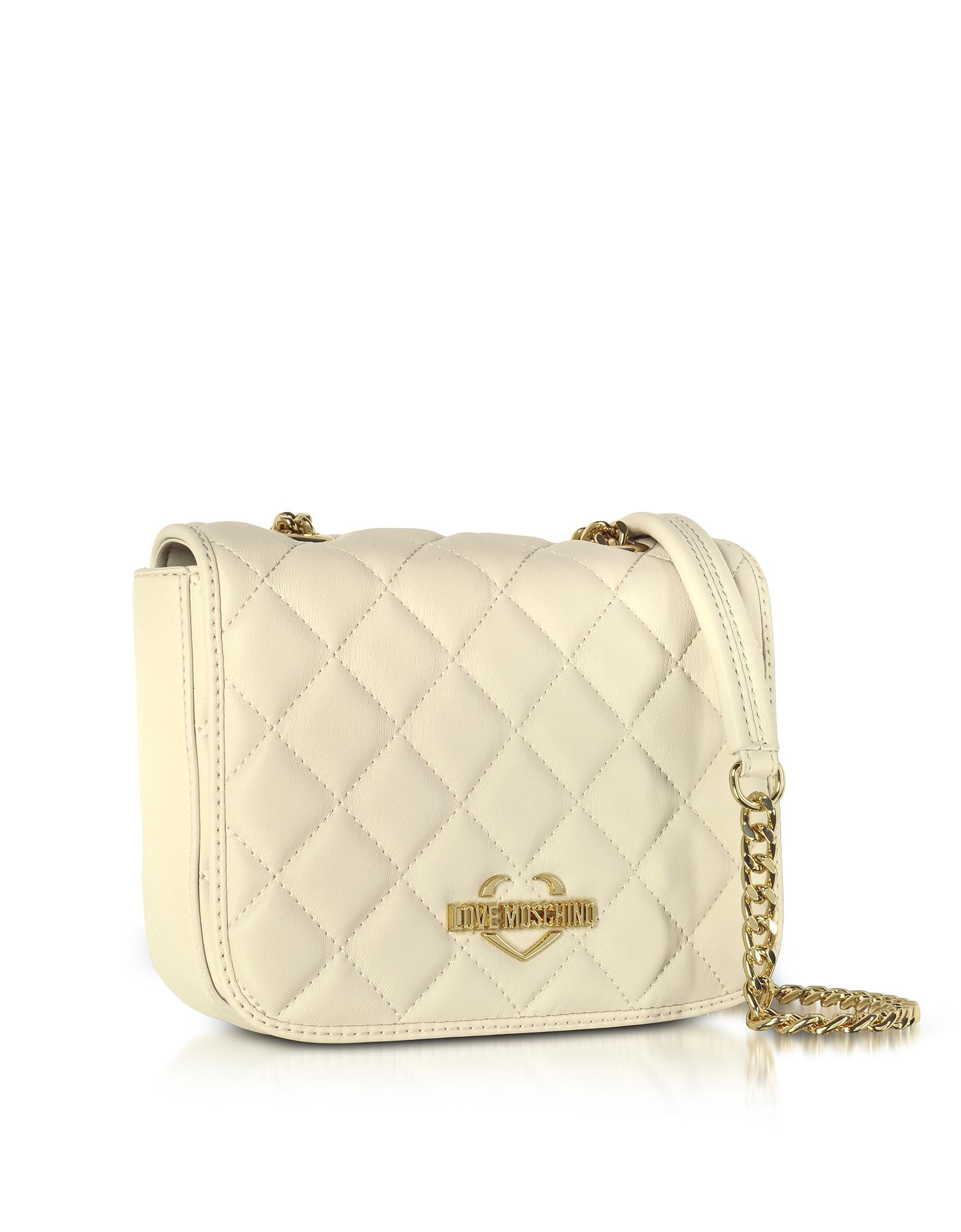 9fda126f4601 Lyst - Love moschino Superquilted Eco-leather Shoulder Bag in White