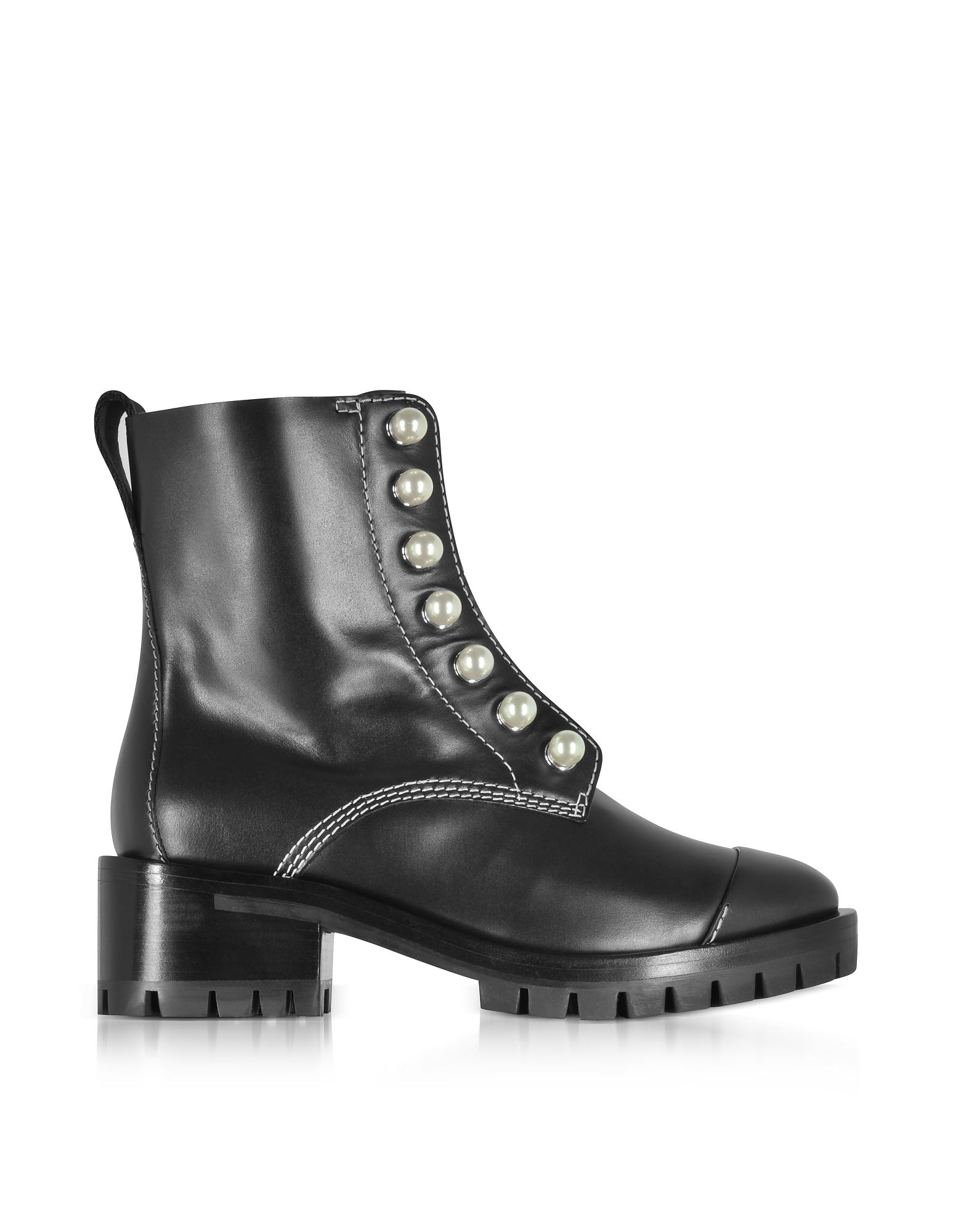 Get Online Factory Outlet Burrow Flat Boots with Pearls in Black Mix Leather with Beads and Crystals Jimmy Choo London Sale Classic Finishline For Sale upbgZOt