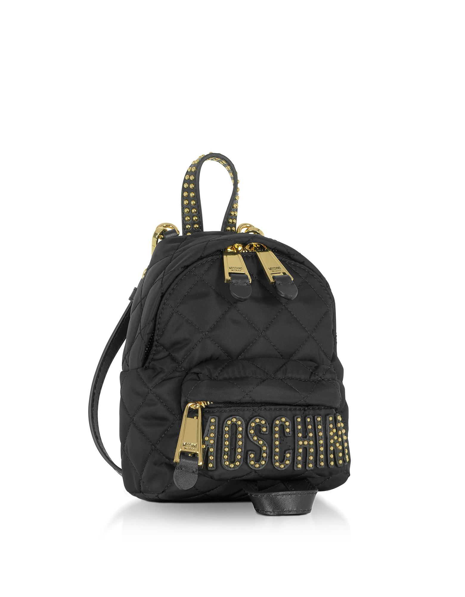 77ca9af055 Moschino Black Quilted Nylon Mini Backpack W/studs in Black - Lyst