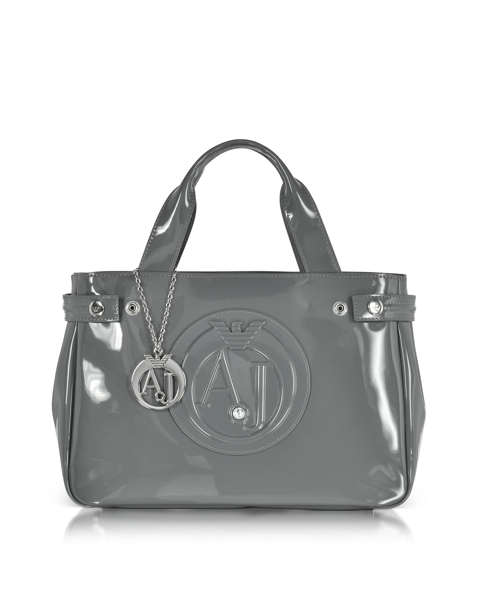 530c69985475 Lyst - Armani Jeans Medium Gray Faux Patent Leather Tote Bag in Gray