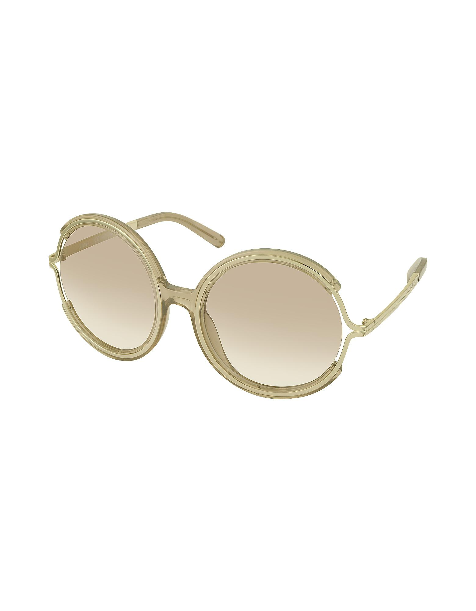 394c40f5bdf Chloé Jayme Ce 708s 272 Light Brown Acetate And Gold Metal Round ...