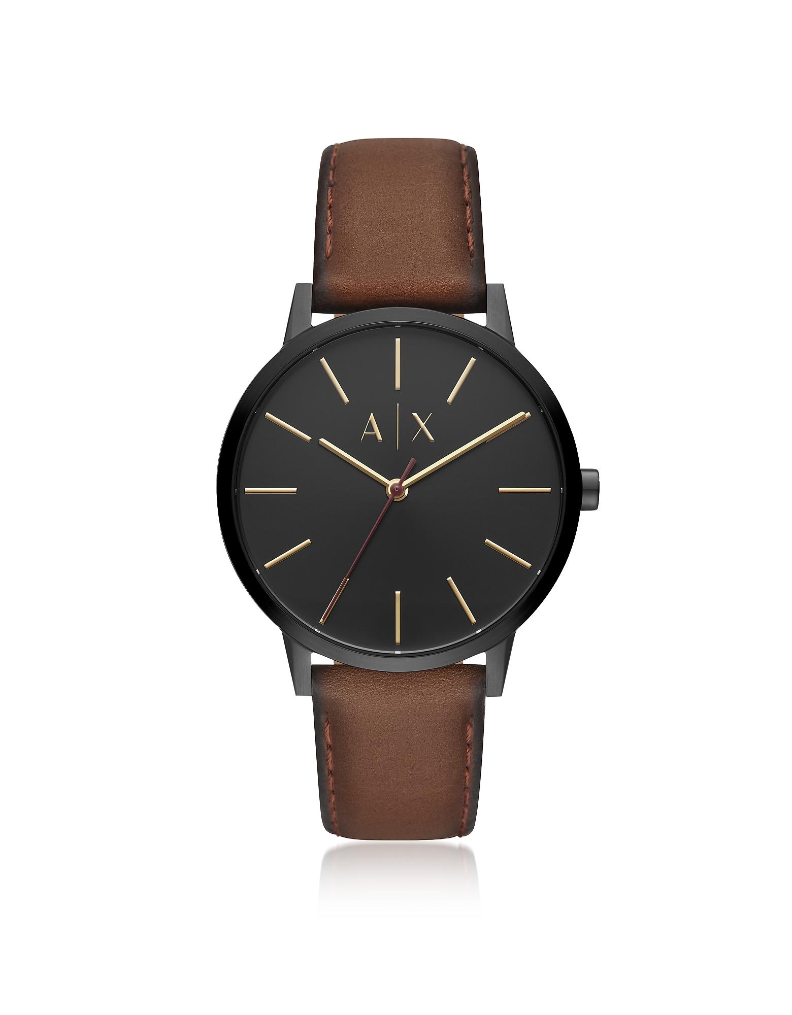 8c00257f2b284 Emporio Armani Cayde Burnished Leather Men's Watch in Black for Men ...