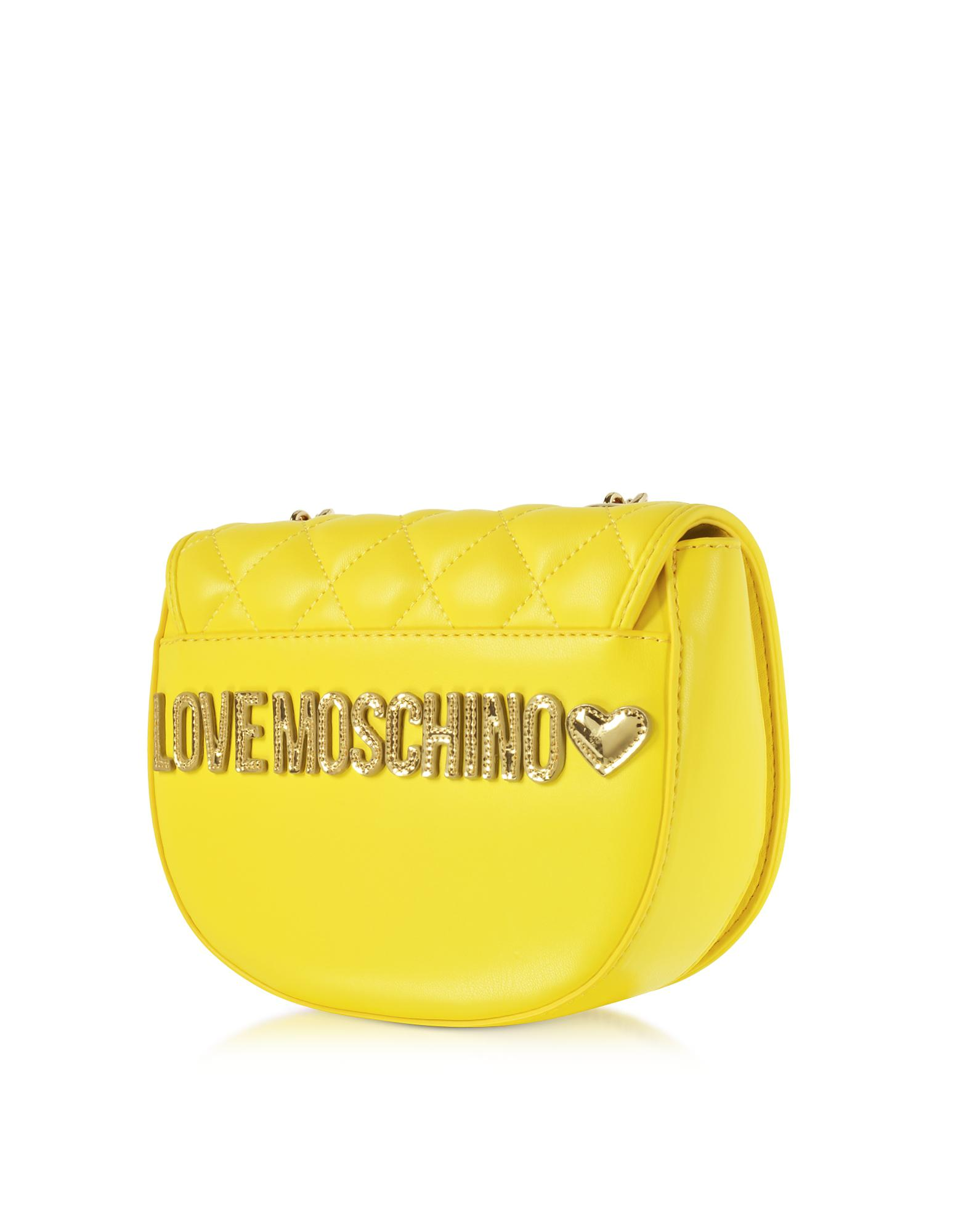 540ad8220389 Lyst - Love Moschino Yellow Superquilted Eco-leather Small Crossbody ...