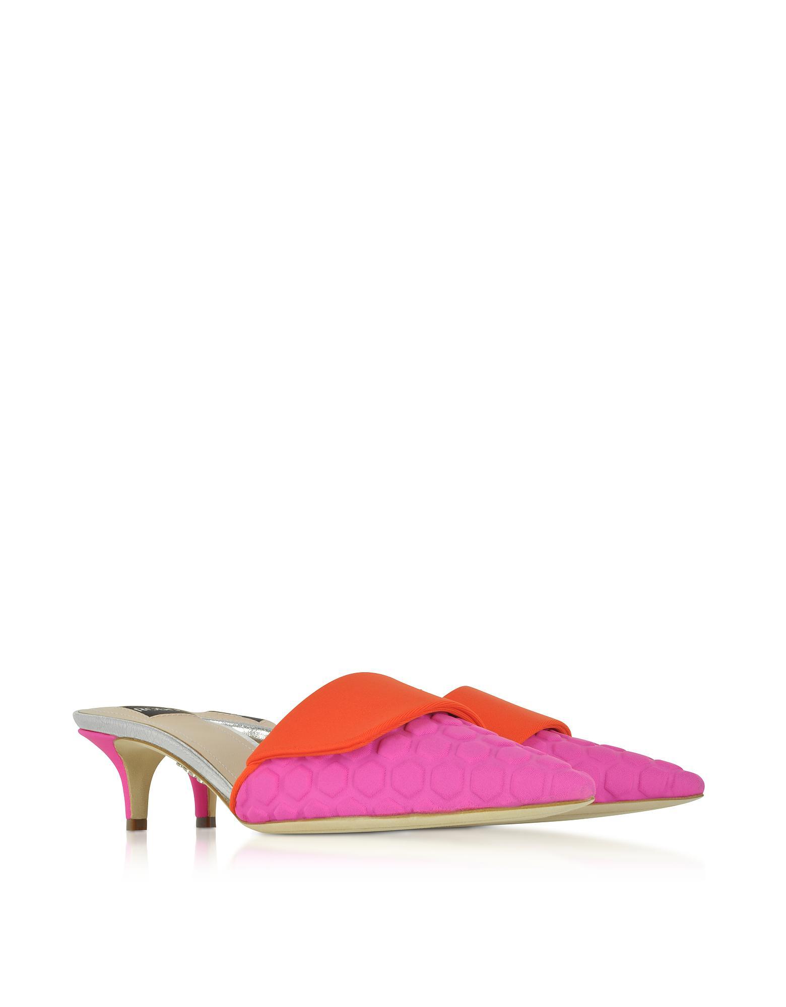 RODO Designer Shoes, Fuchsia and Scuba Fabric Kitten Heel Mules