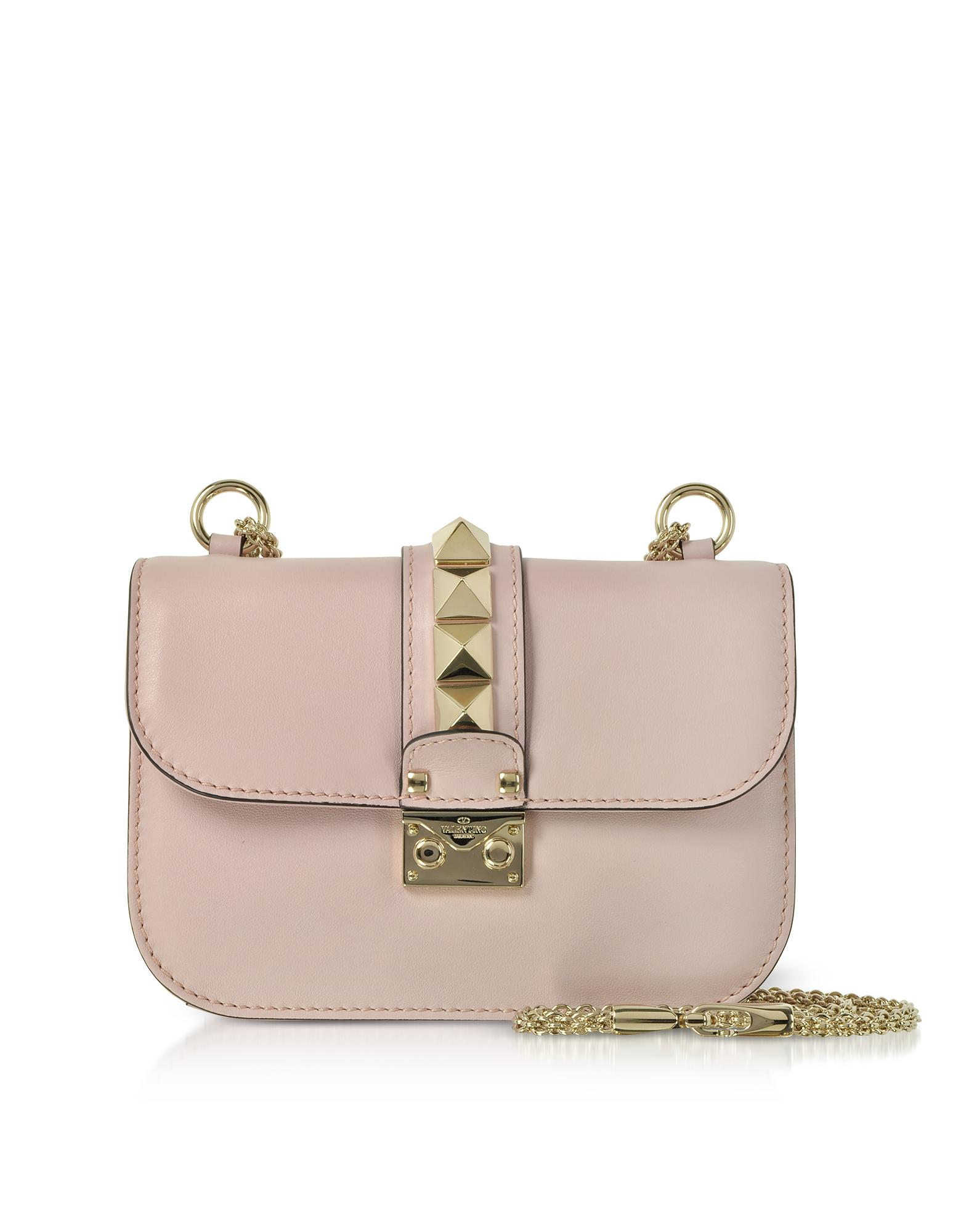 10bec8fe83c0 Lyst - Valentino Lock Small Leather Chain Shoulder Bag in Pink