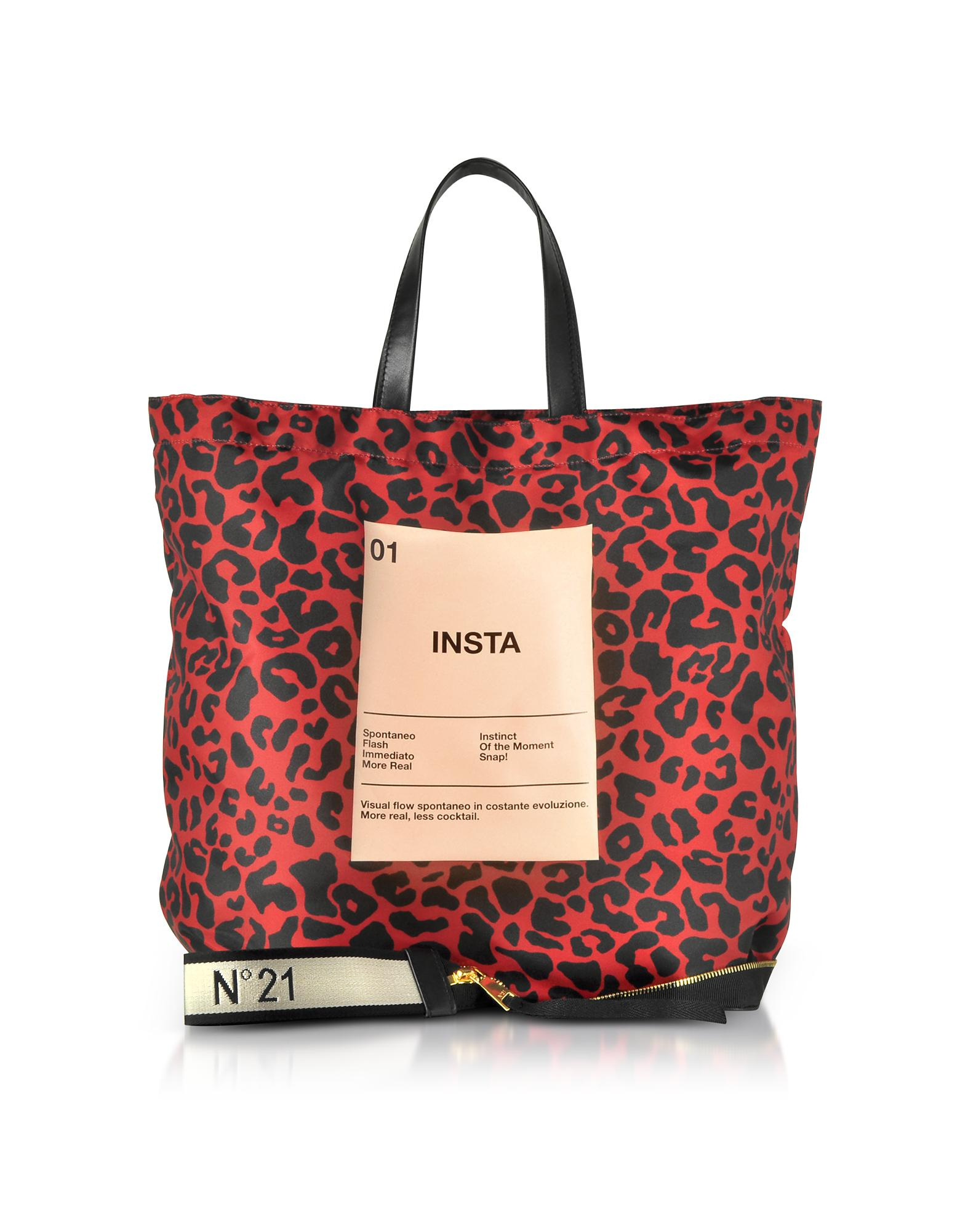 43ccd7fe4a N°21 Red   Black Animal Print Nylon And Leather Big Foldable Shopper ...