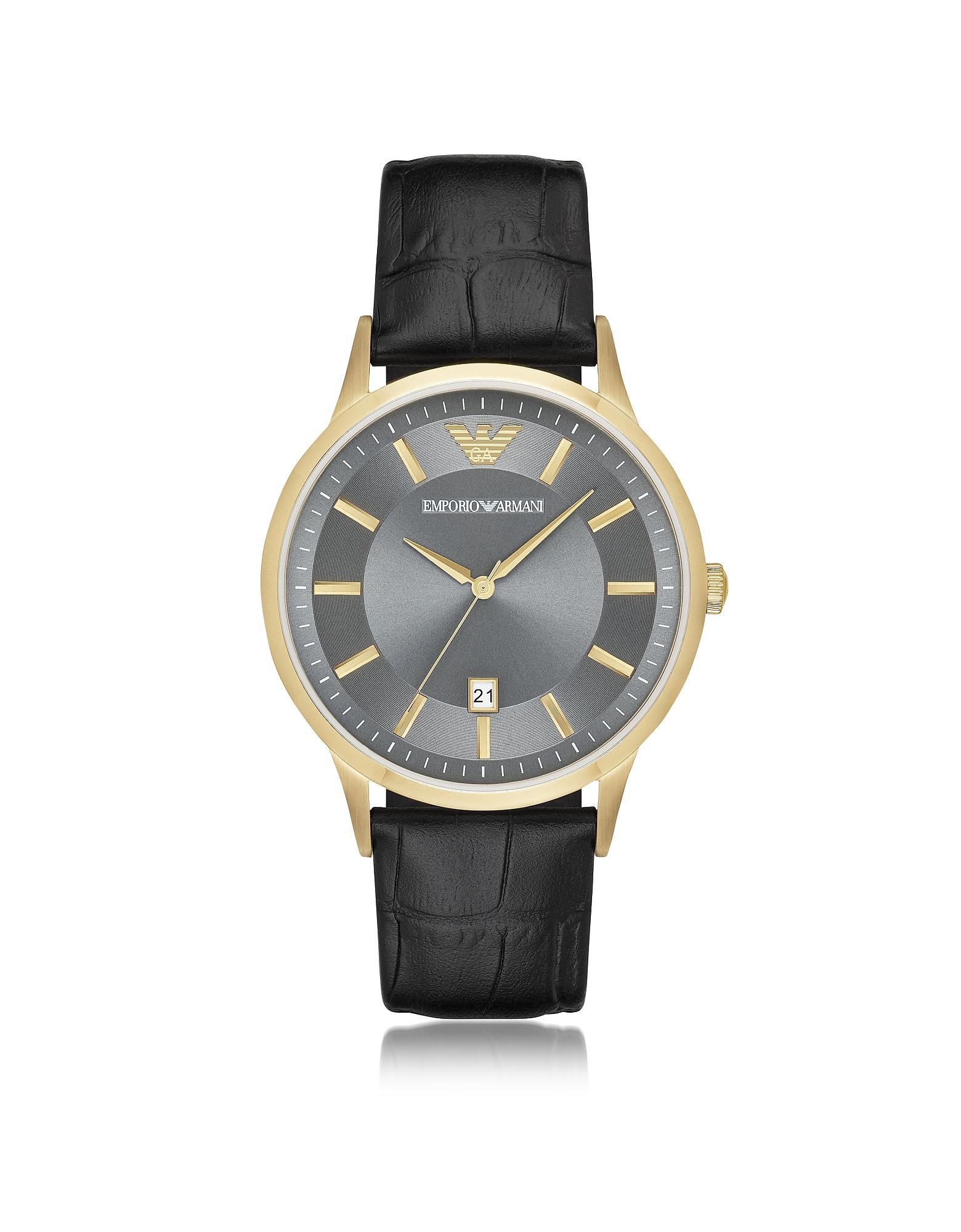 1761b88bf2f9 Emporio Armani. Reloj para Hombre de Acero Dorado y Correa de Cuero ...