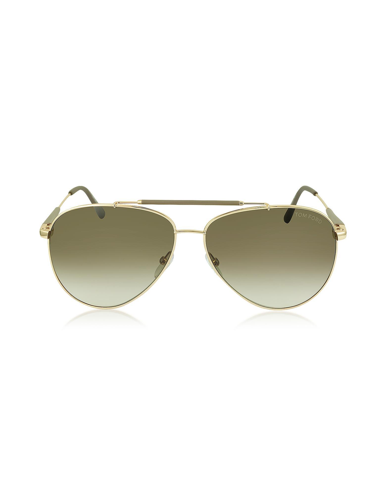 8cc912e6be9 Lyst - Tom Ford Rick Ft0378 28j Gold Brown Metal Aviator Sunglasses ...