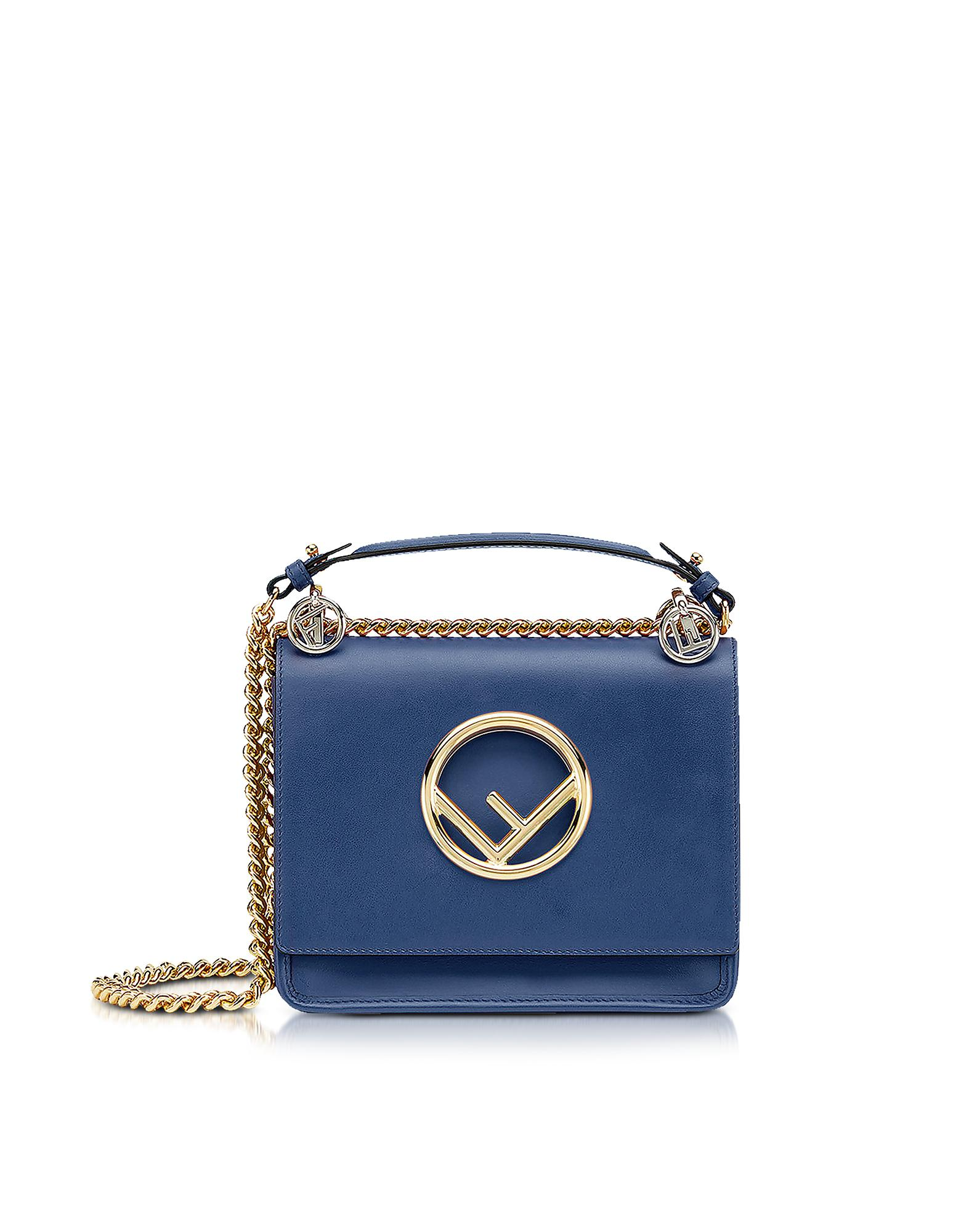6a7ae2398bfd Fendi Kan I Small Blue Leather Shoulder Bag in Blue - Lyst