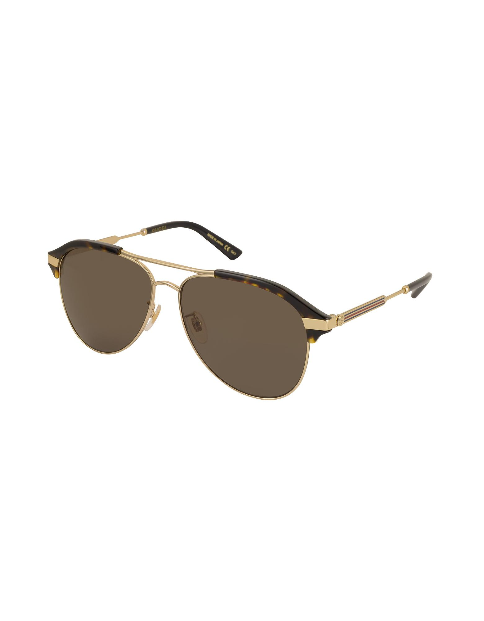 3cb01a5603e Lyst - Gucci Specialized Fit Aviator Metal Sunglasses in Brown for Men