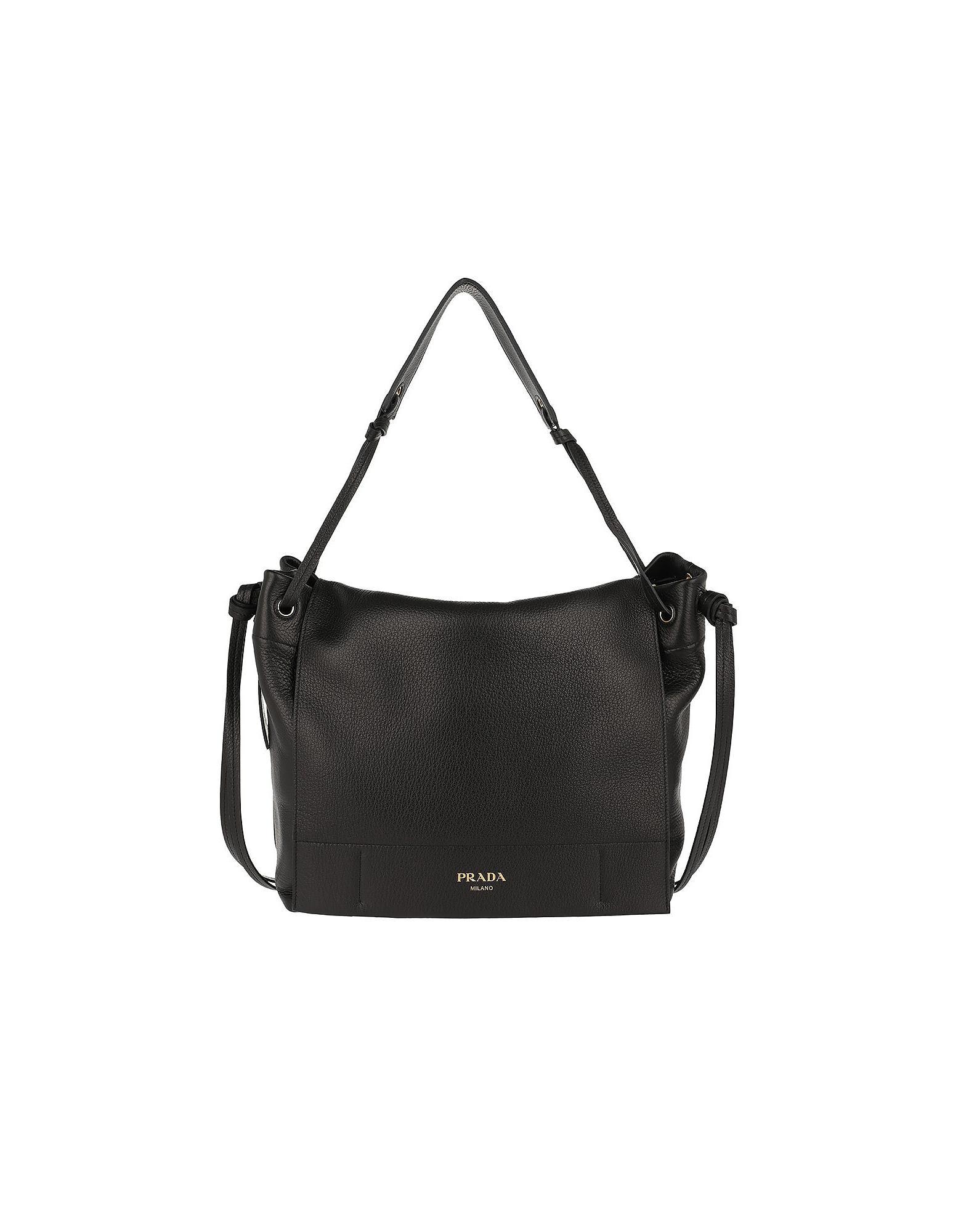 48a87e67a320 Prada Shoulder Bag Grained Leather Nero in Black - Lyst