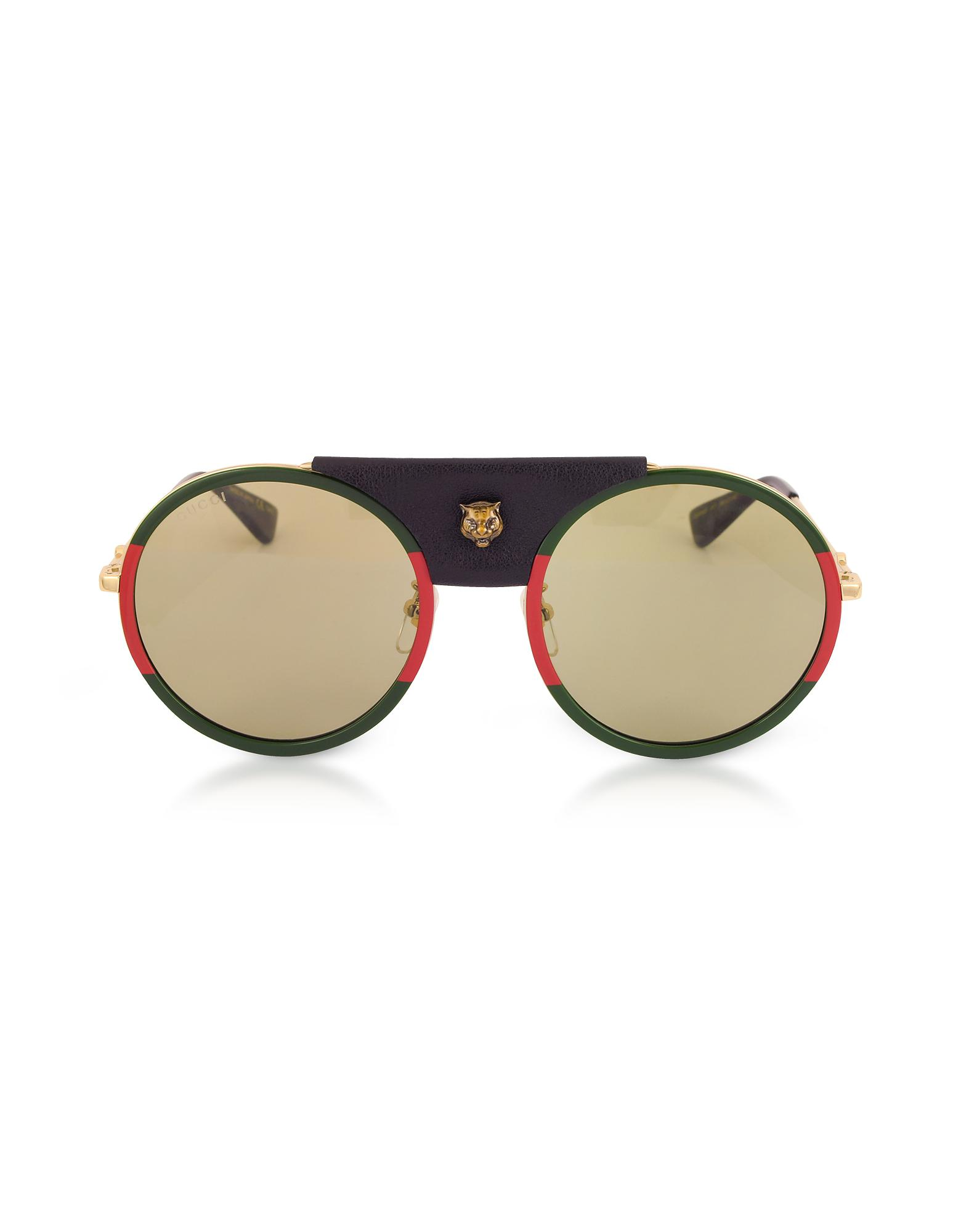53509b516461 Gucci GG0061S Round-frame Gold Metal And Black Leather Sunglasses W ...