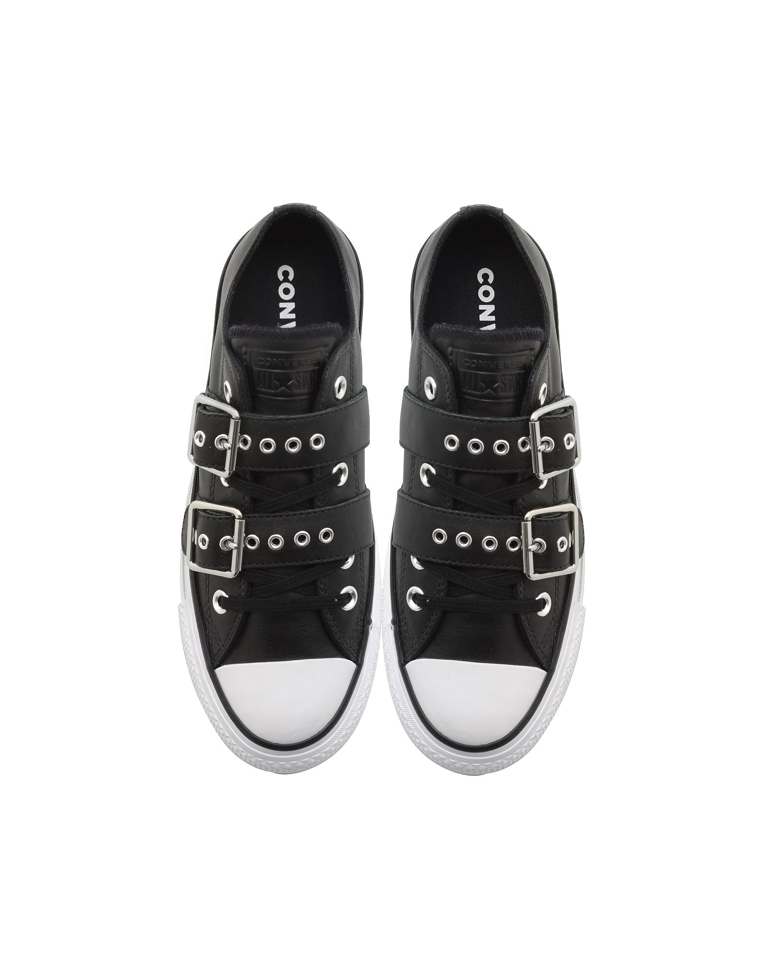 88d6f86cd77 Converse Chuck Taylor All Star Lift Buckle Black Platform Sneakers ...