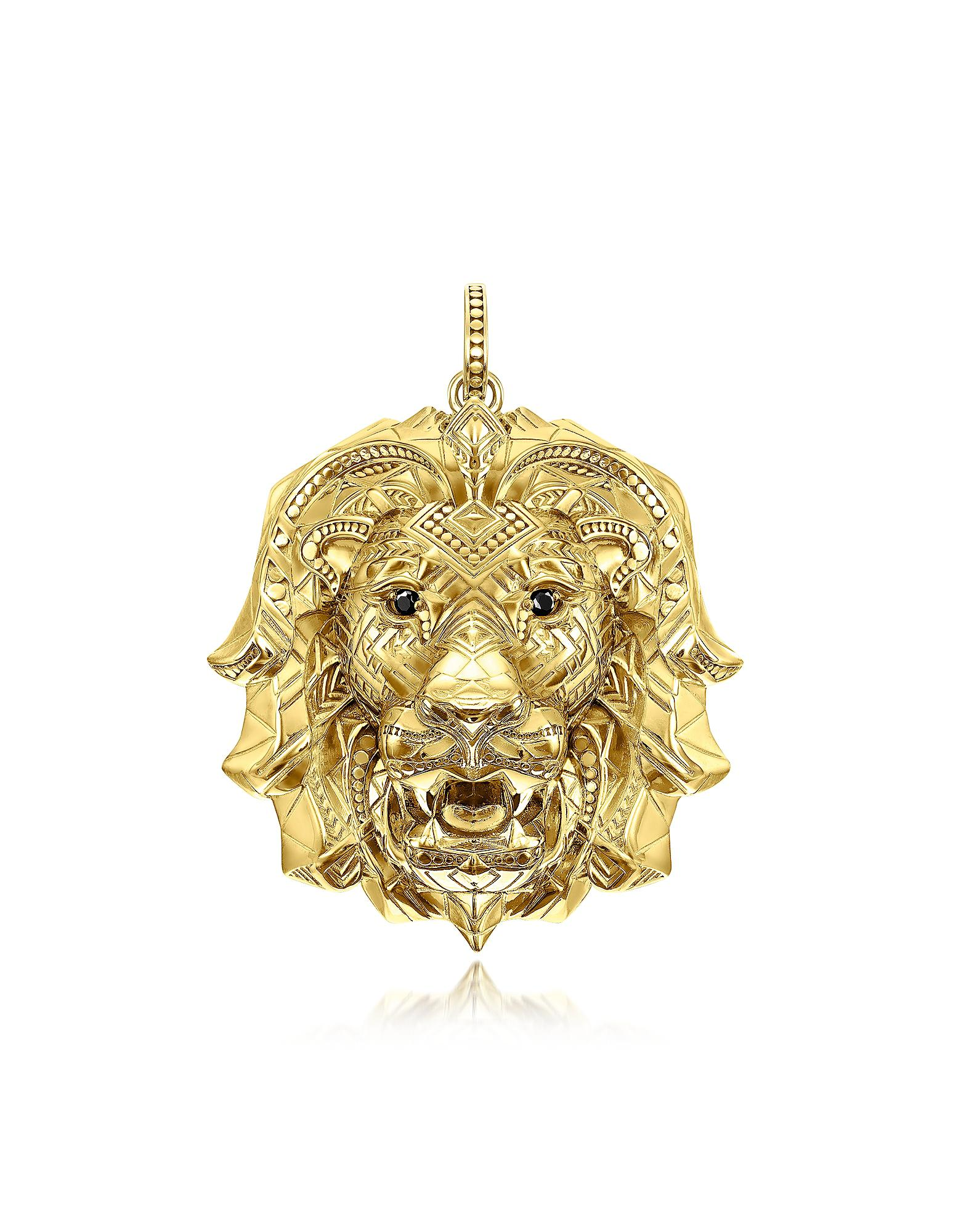 gold diamond pendant lion yellow ct pnd real