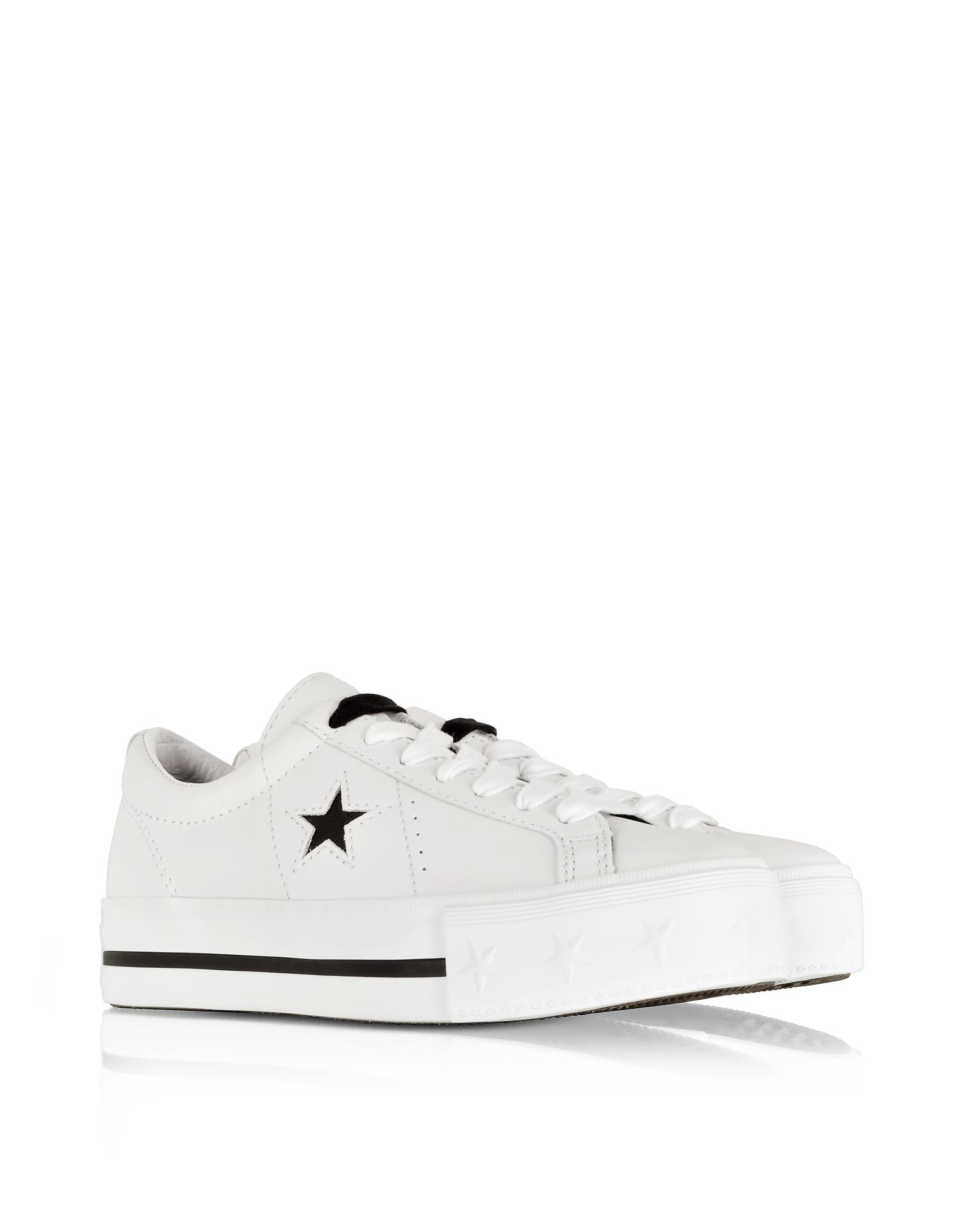 5ced9f06413 Lyst - Converse One Star Platform Ox White Leather Low Top Sneakers ...