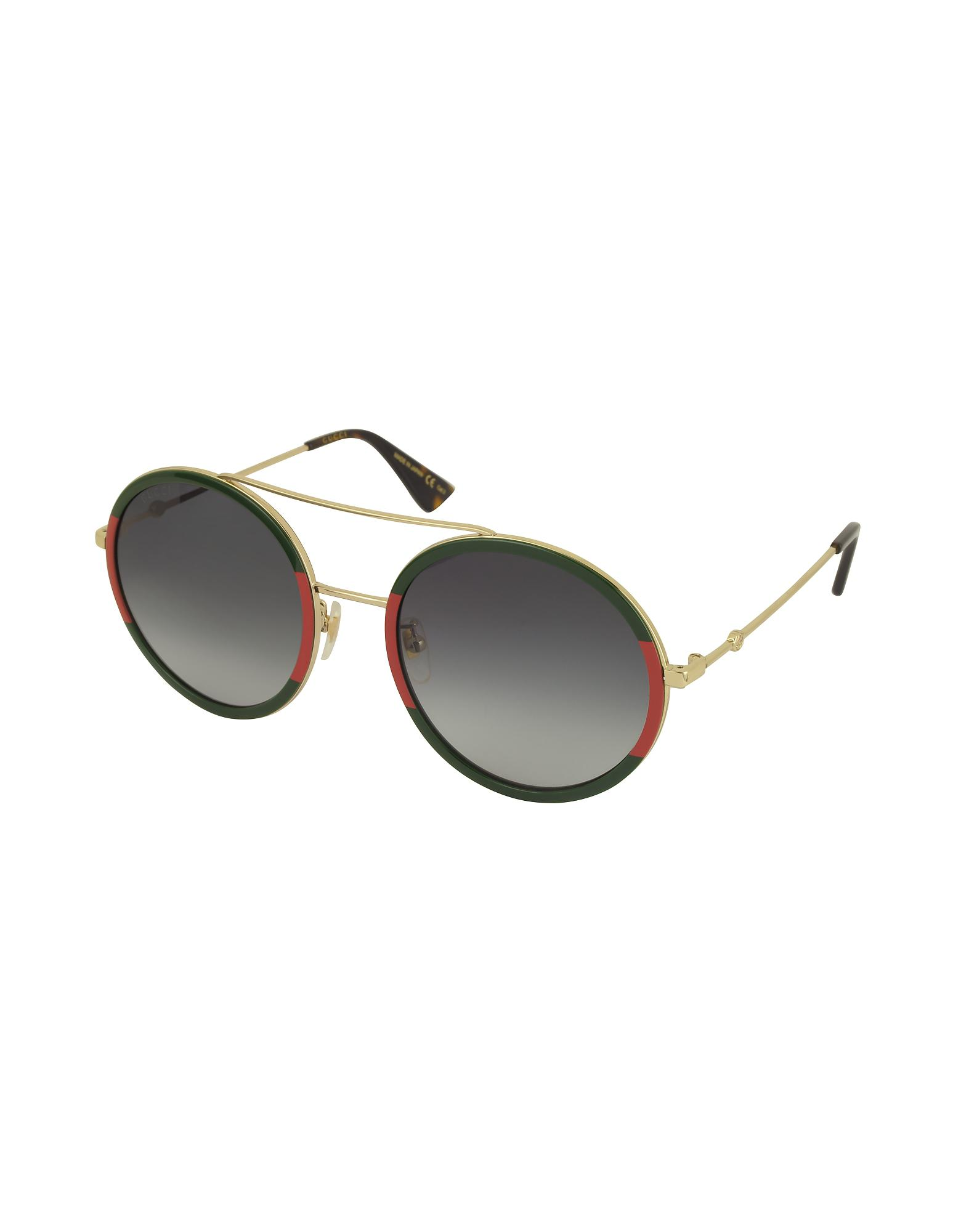 477eec58389 Lyst - Gucci Round-frame Metal Sunglasses in Metallic