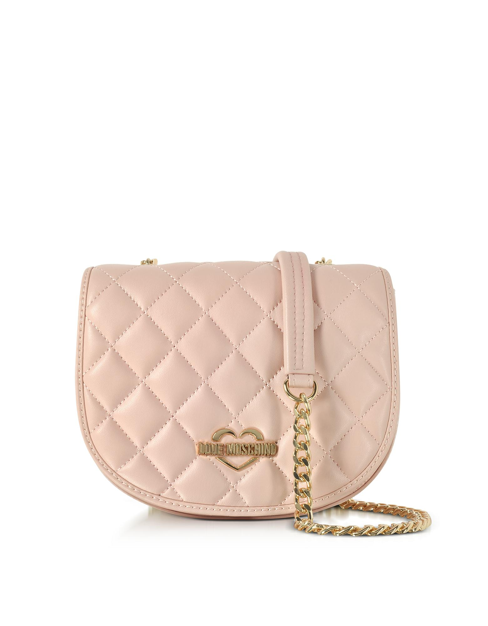 bf57a6c3a8 Love Moschino Pink Superquilted Eco-leather Small Crossbody Bag in ...