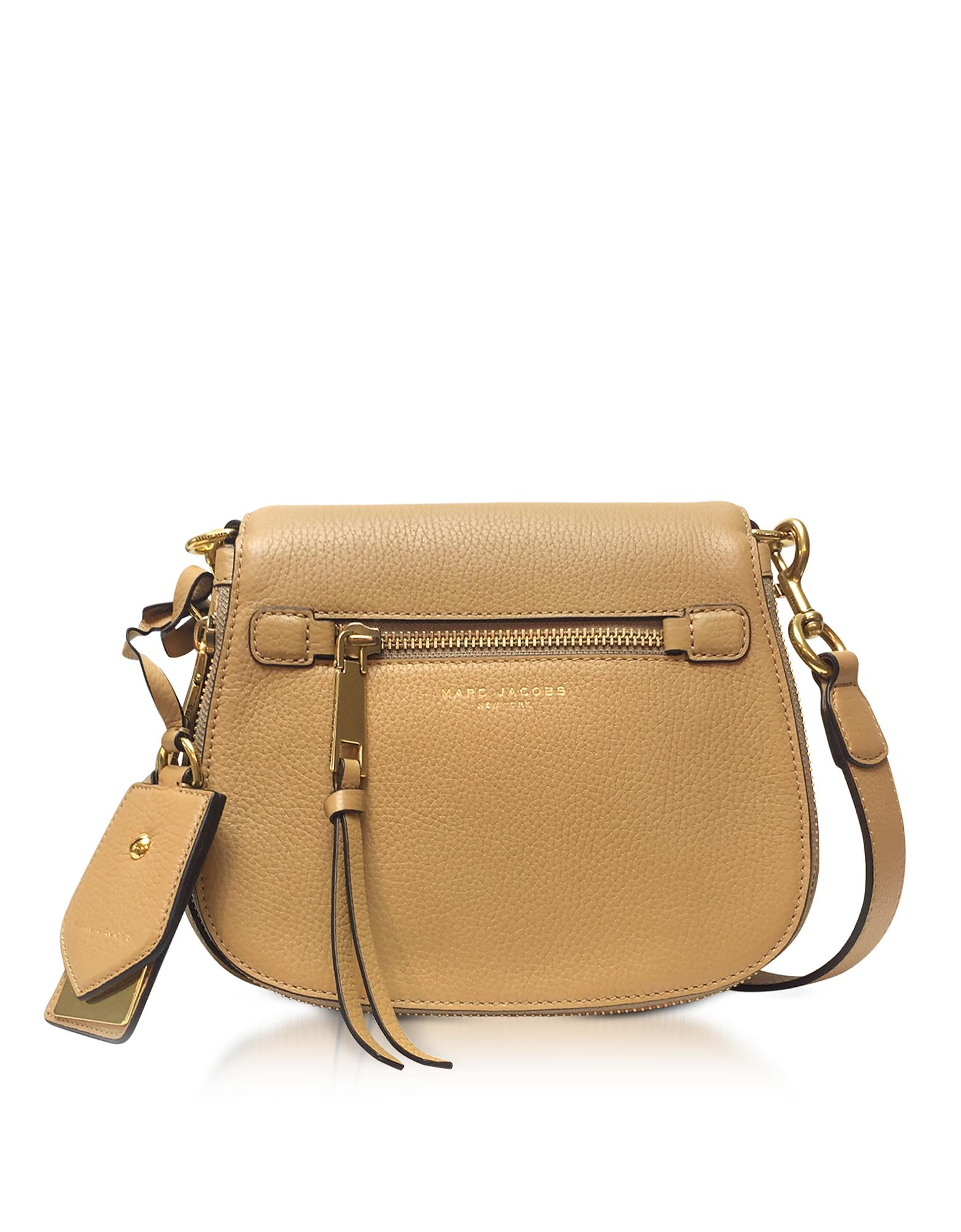 7863093307 Marc Jacobs Recruit Golden Beige Leather Small Saddle Bag in ...