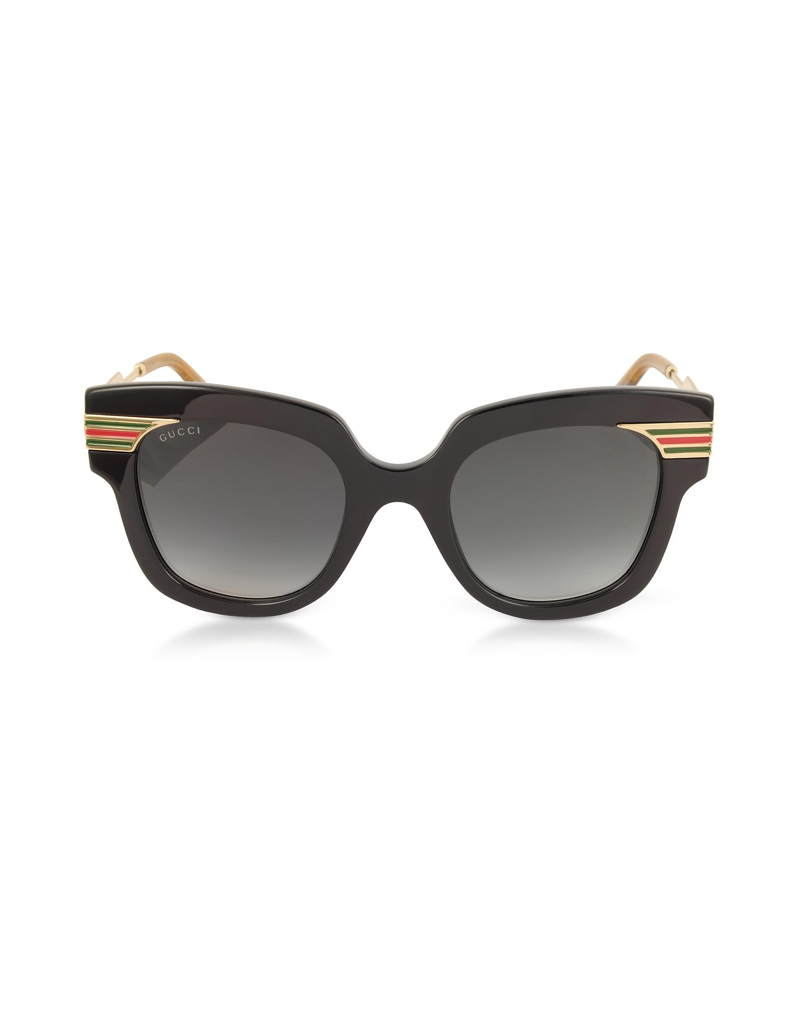 ca1819a219 Gucci - GG0281S Square-frame Black Acetate Sunglasses W sylvie Web Temples  - Lyst. View fullscreen