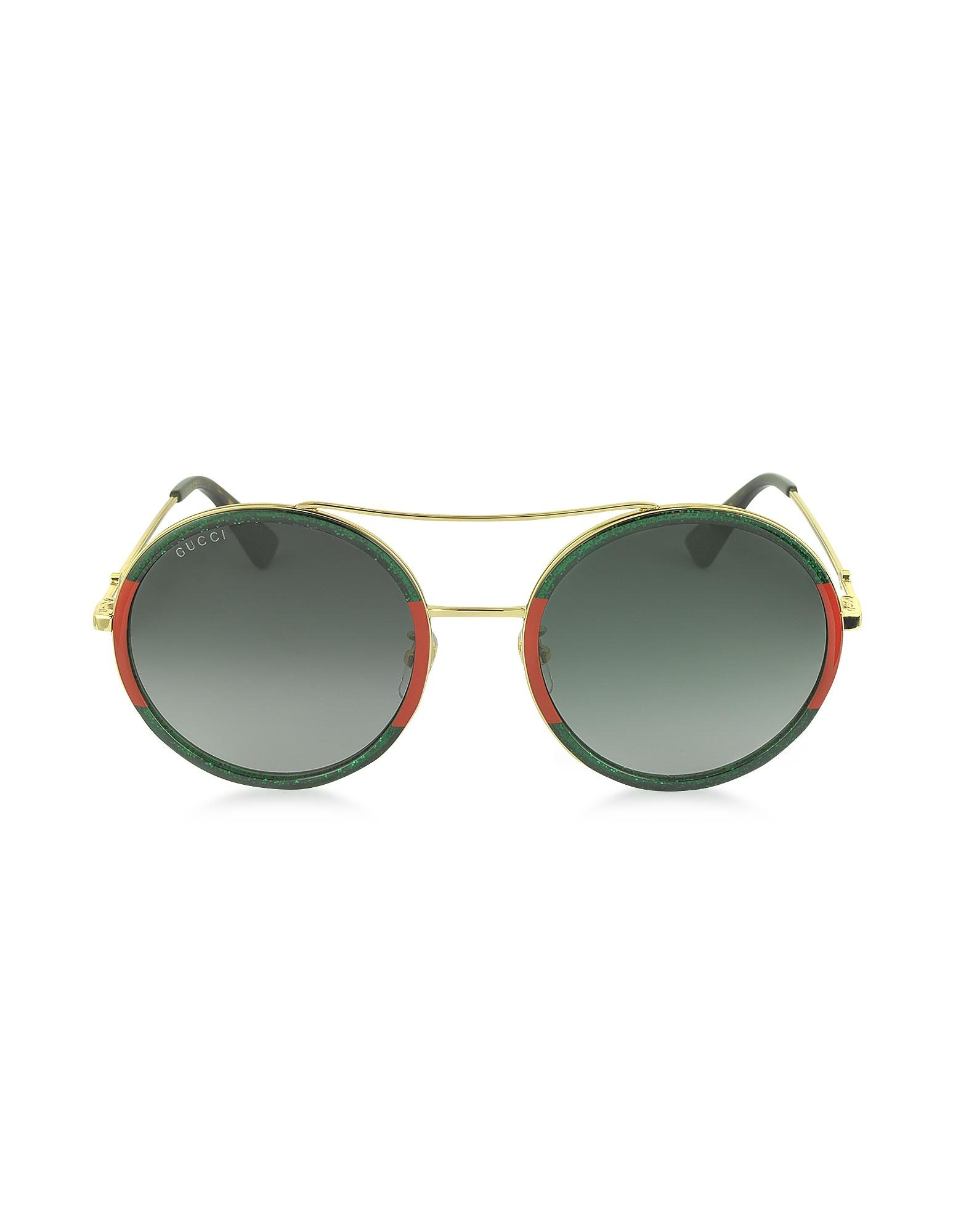 469a78434d Lyst - Gucci GG0061S Acetate And Gold Metal Round Aviator Women s ...