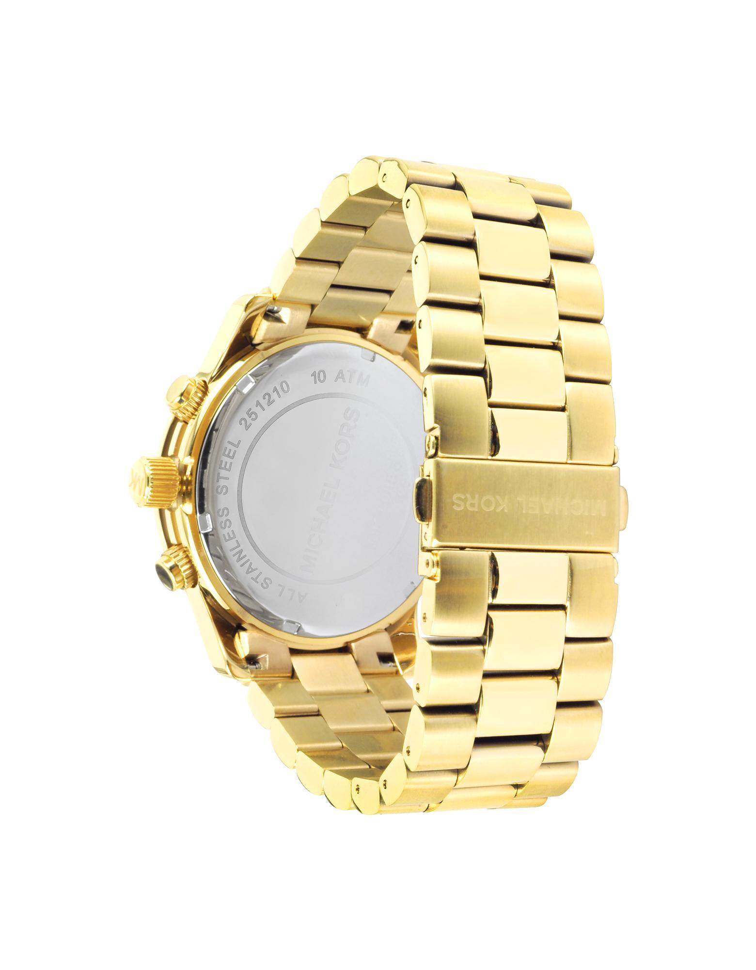 Lyst Michael Kors Men S Runway Gold Tone Stainless Steel Bracelet Watch In Metallic For