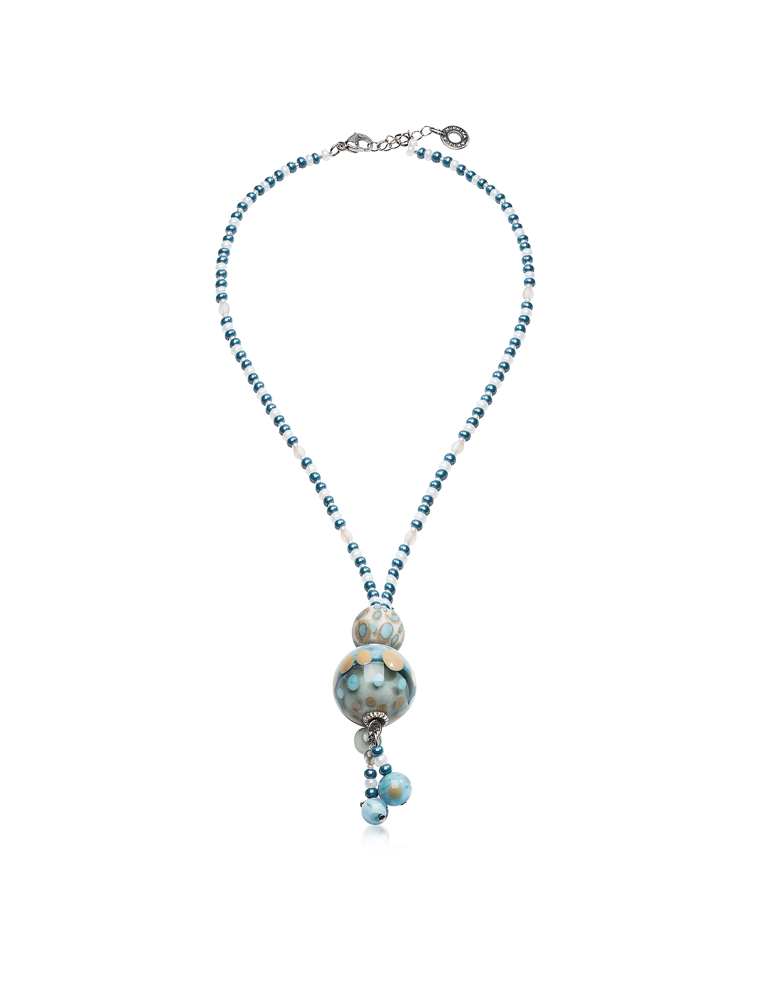 blue sharpe necklace silver flourish light enamel miranda products
