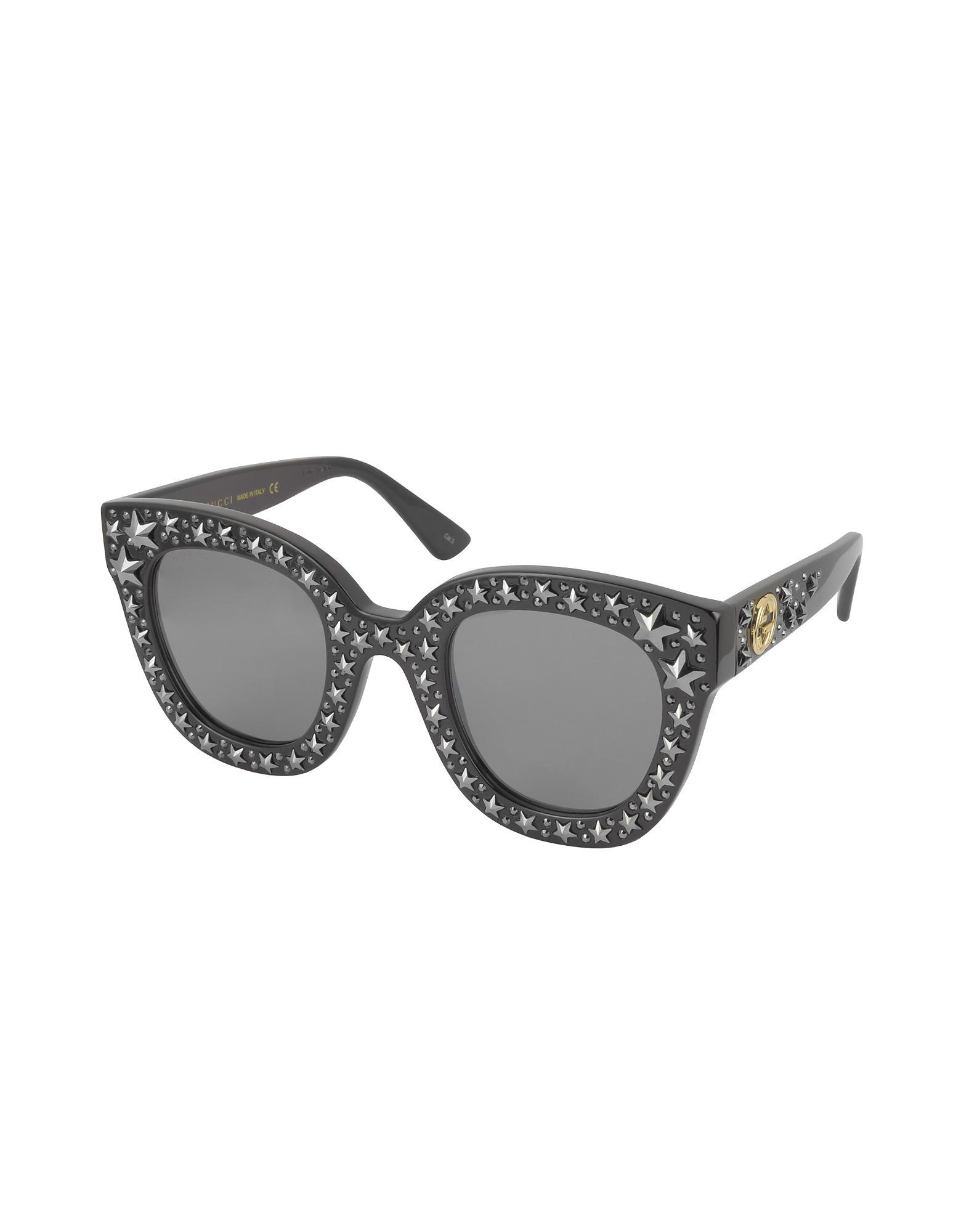 5a31a684801 Gucci Gg0116s Acetate Cat Eye Women s Sunglasses W stars in Black - Lyst