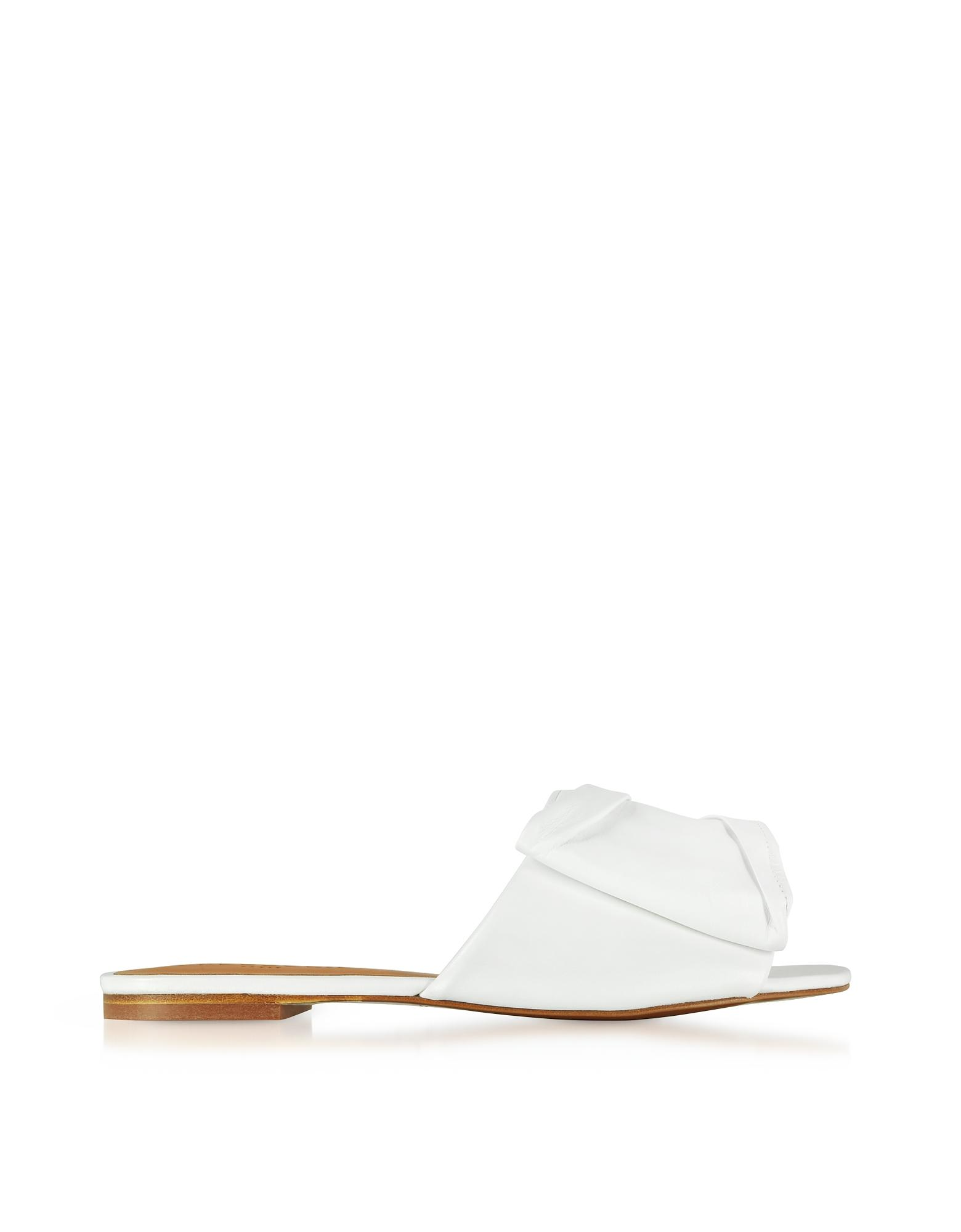 5913ed93016e Lyst - Robert Clergerie Igad White Leather Flat Sandals in White