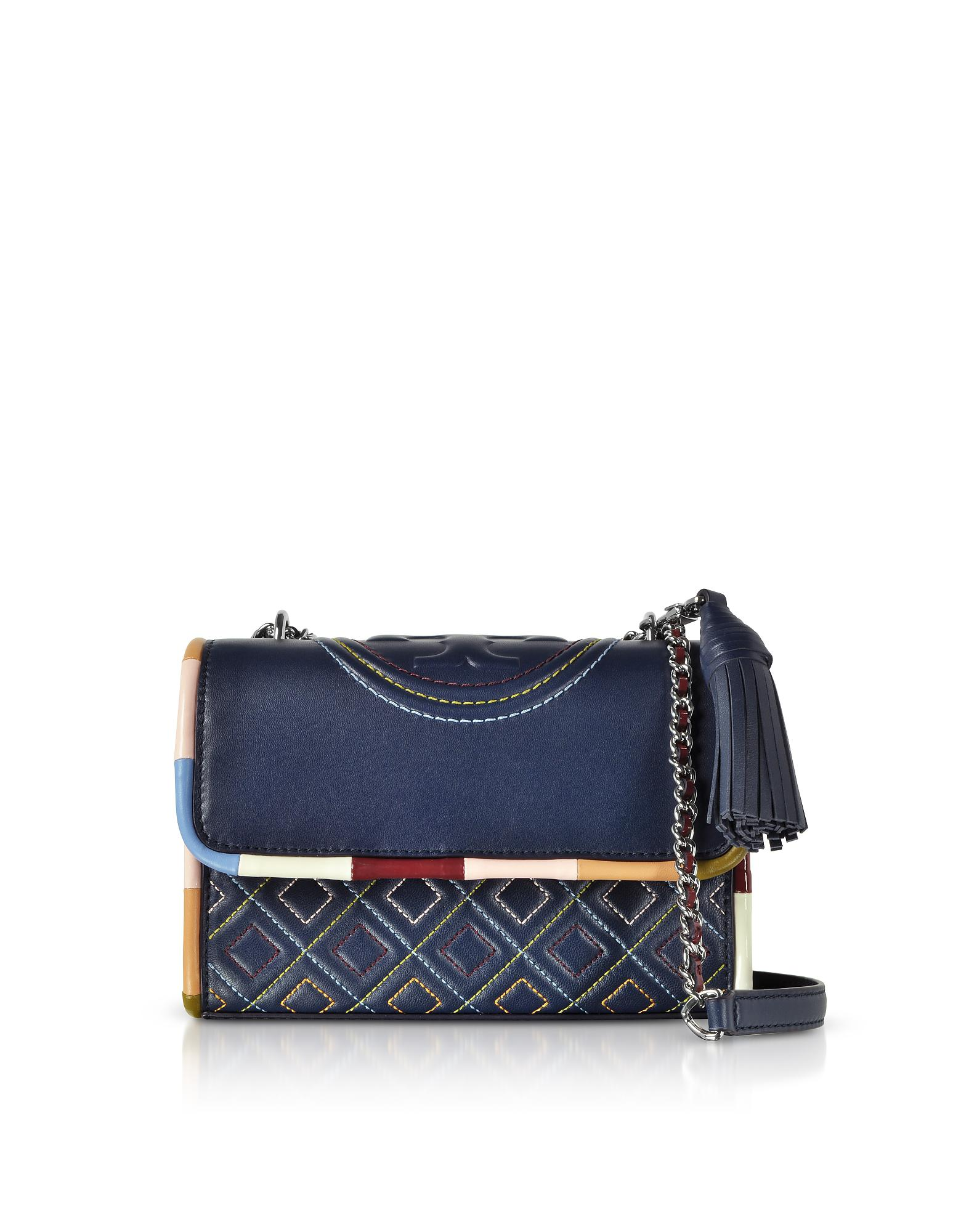 acf433592f6 Tory Burch Navy Blue W/multicolor Piping Fleming Small Shoulder Bag ...