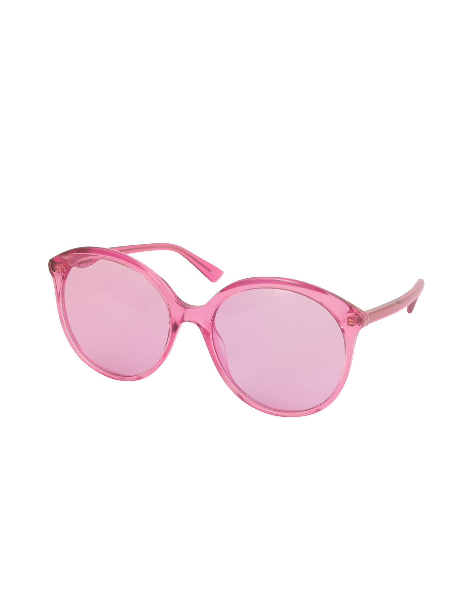 Fuchsia Pink Specialized Fit Round Frame Sunglasses - Pink & Purple Gucci Aa4ULi7j