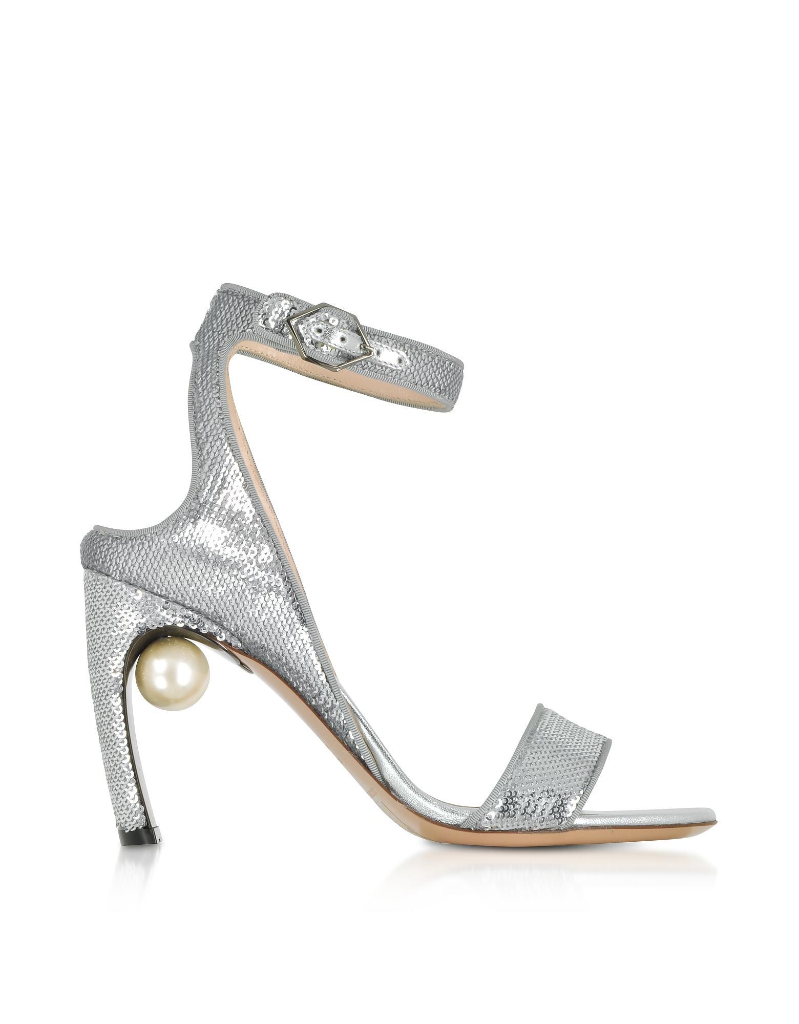 135c5a43827 Nicholas Kirkwood. Women s Metallic Silver Sequins 90mm Lola Pearl Sandals