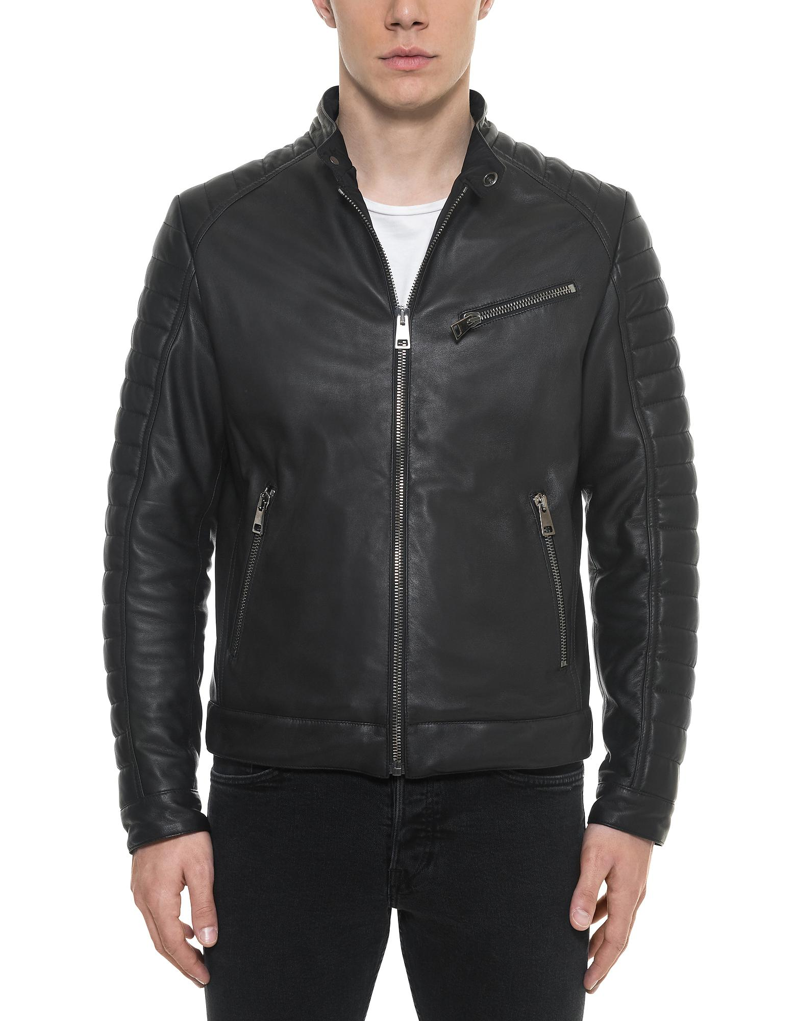 65970d13a Lyst - FORZIERI Black Padded Leather Men's Biker Jacket in Black for Men