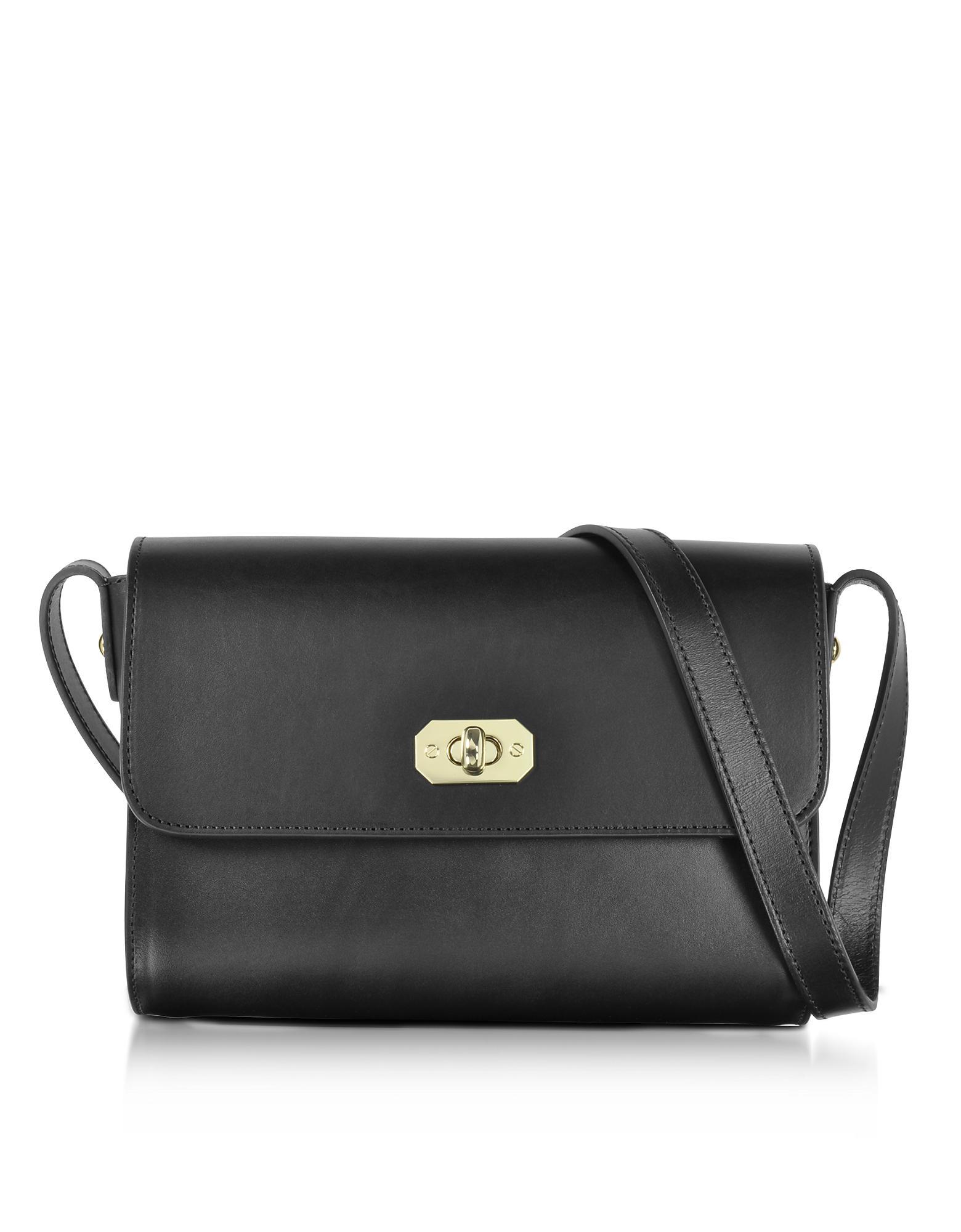 A.P.C. Greenwich Black Leather Crossbody Bag in Black - Lyst eeacaaa9cf