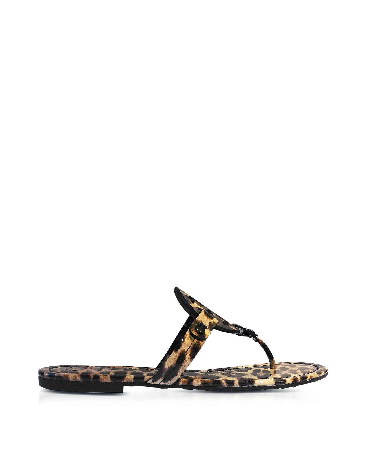 bbdd6744c1d77 Lyst - Tory Burch Miller Natural Leopard Print Leather Flat Sandals ...