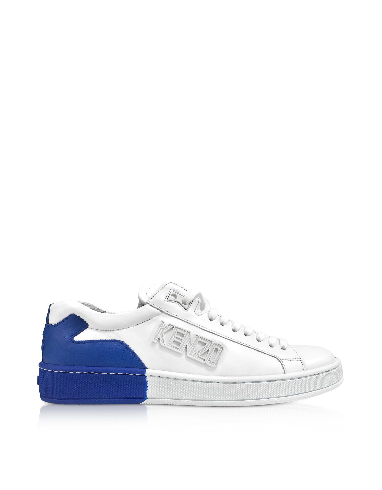8c0ff0e86c KENZO White And French Blue Tennix Sneakers in White - Lyst
