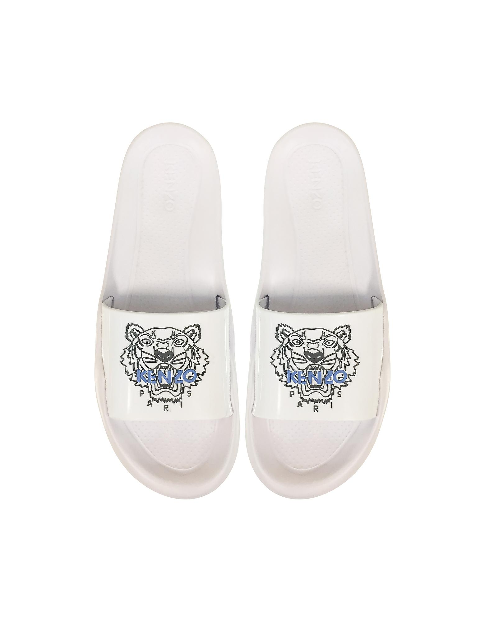 b2dca7439fb2 Lyst - KENZO White Men s Pool Sandals W tiger Logo in White for Men