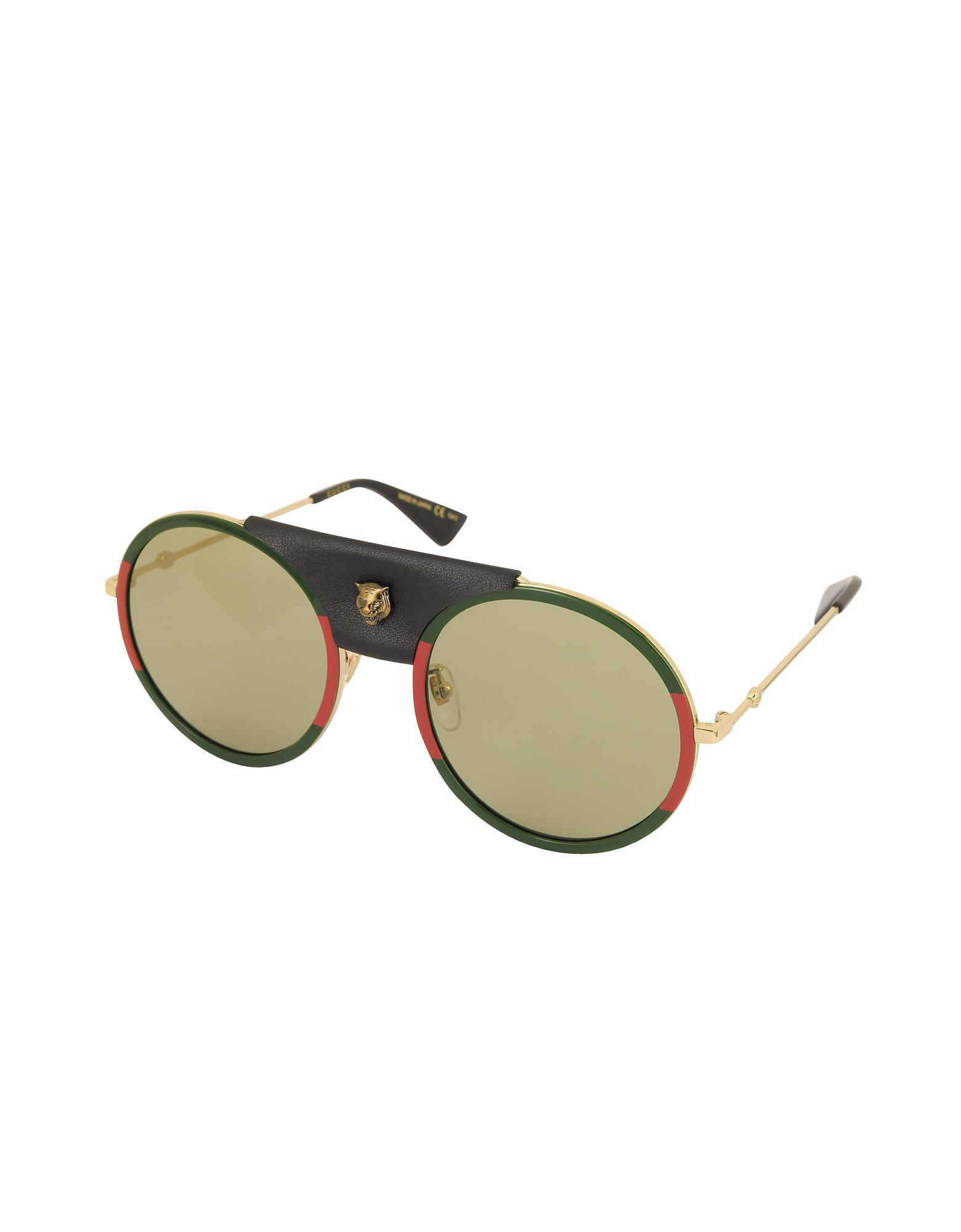 f96187cbe80 Lyst - Gucci GG0061S Round-frame Gold Metal And Black Leather ...