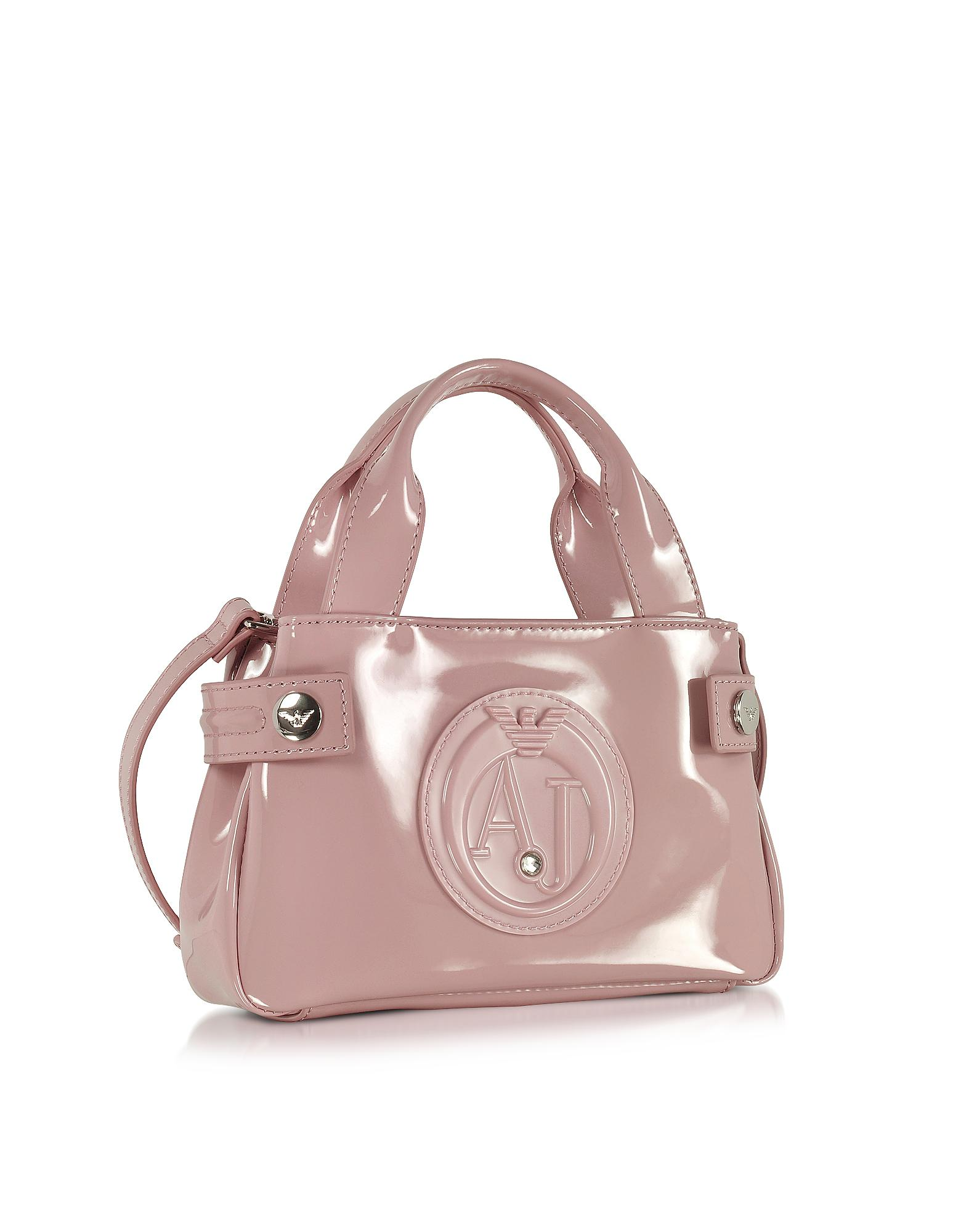 b7af74854149 Lyst - Armani Jeans Signature Mini Patent Leather Tote Bag in Pink