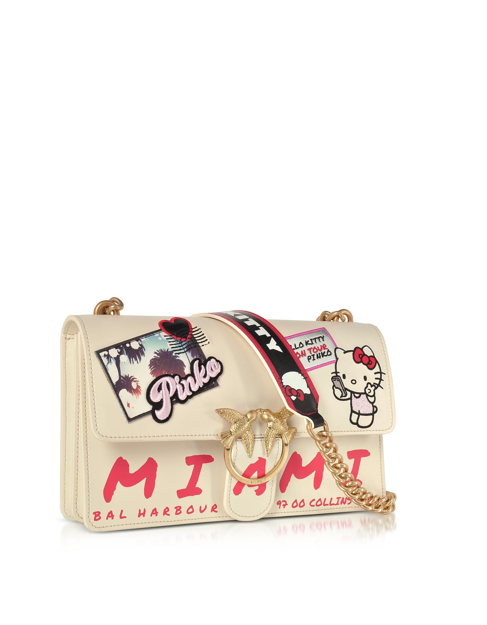 07be3bd54a8e Lyst - Pinko Love Hello Kitty Souvernir White Eco Leather Shoulder ...