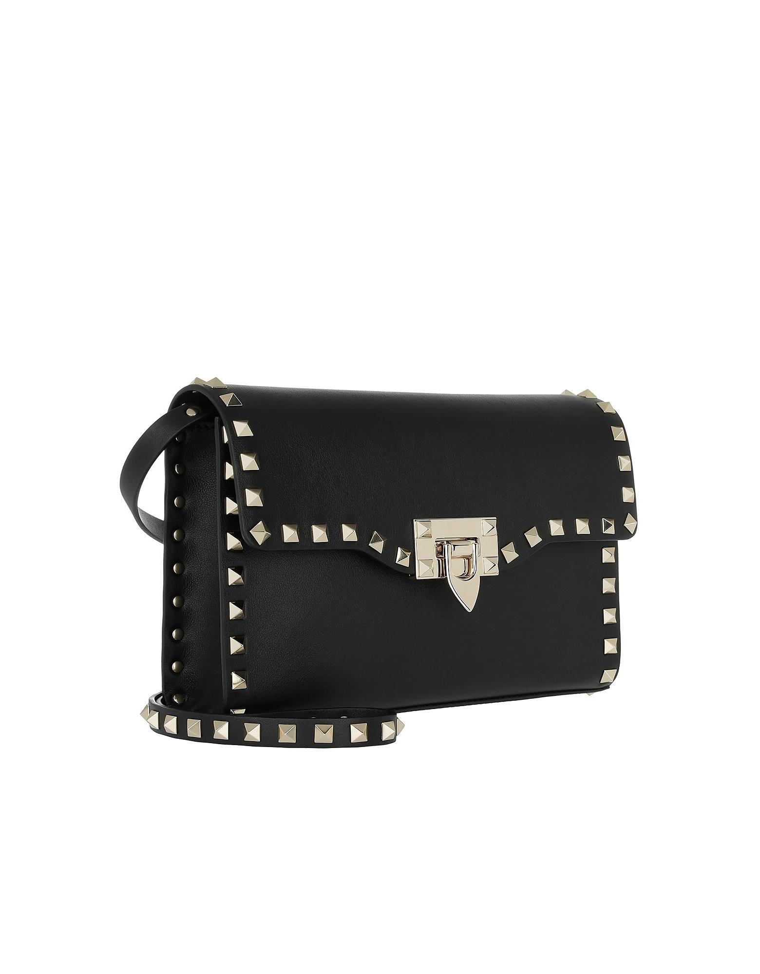 fb58f517f7dd Lyst - Valentino Rockstud Small Crossbody Bag Black in Black
