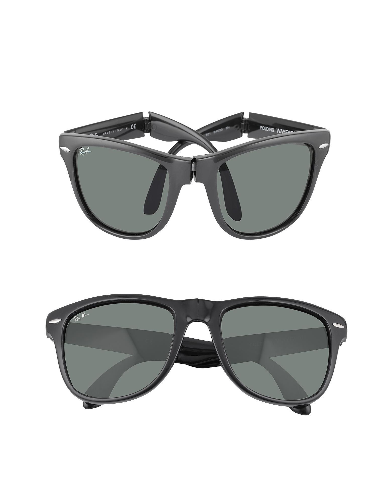 0dc77b989adaa Lyst - Ray-Ban Wayfarer Folding - Square Acetate Sunglasses in Black ...