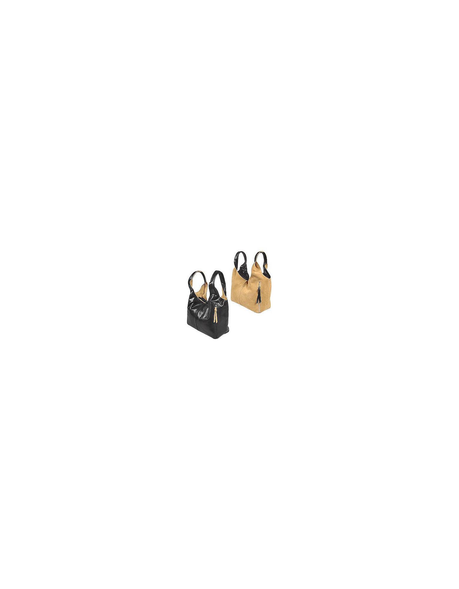 Lyst Fontanelli Black Tan Reversible Italian Leather Handbag In