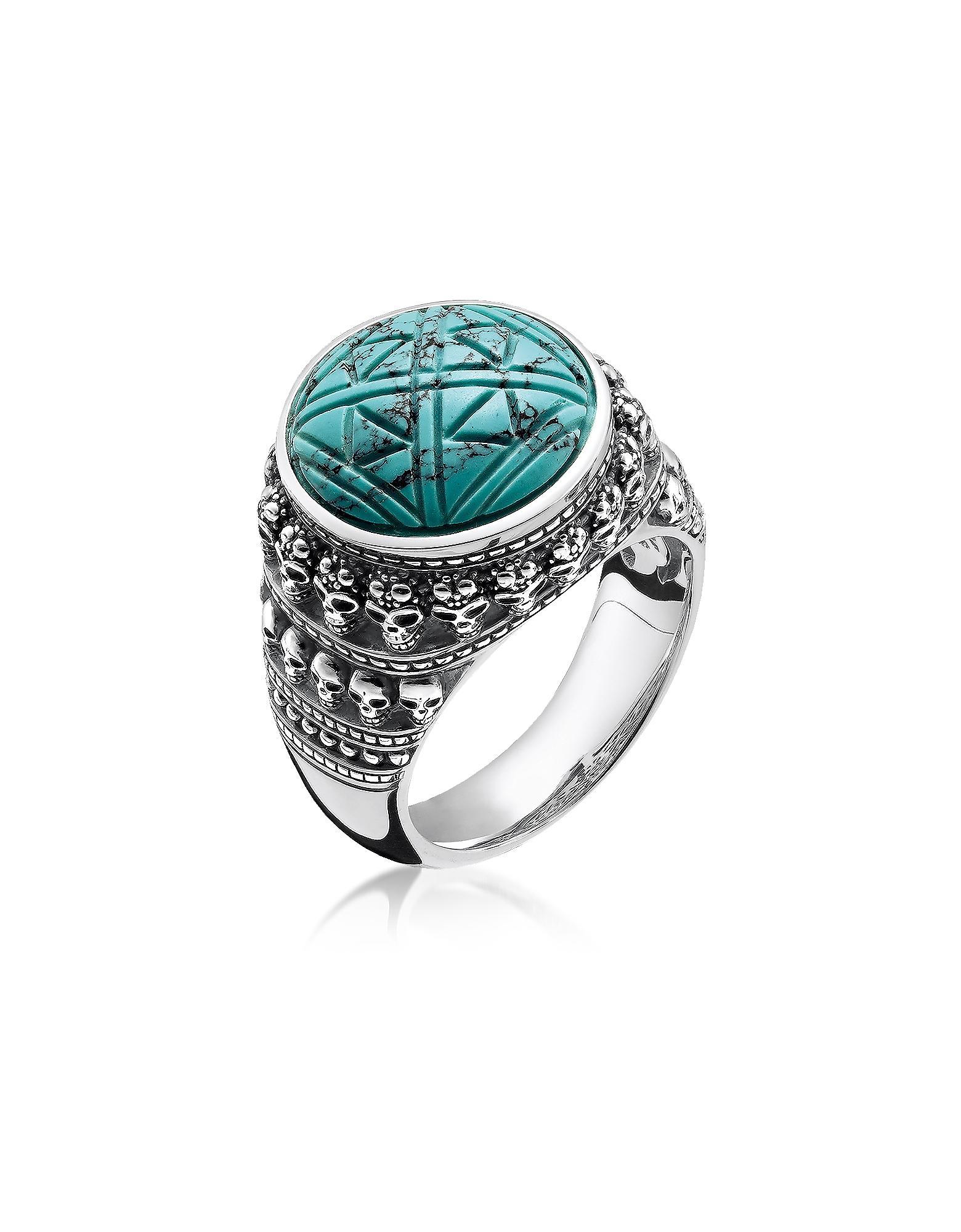 7aeb730ea636 Thomas Sabo. Men s Metallic Blackened 925 Sterling Silver Skulls Turquoise  Ring