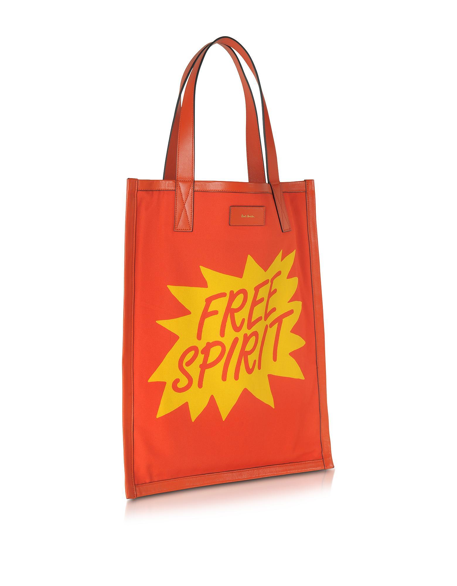 c06d3d2f56 Paul Smith Men's Orange And Yellow Free Spirit Print Tote Bag in ...