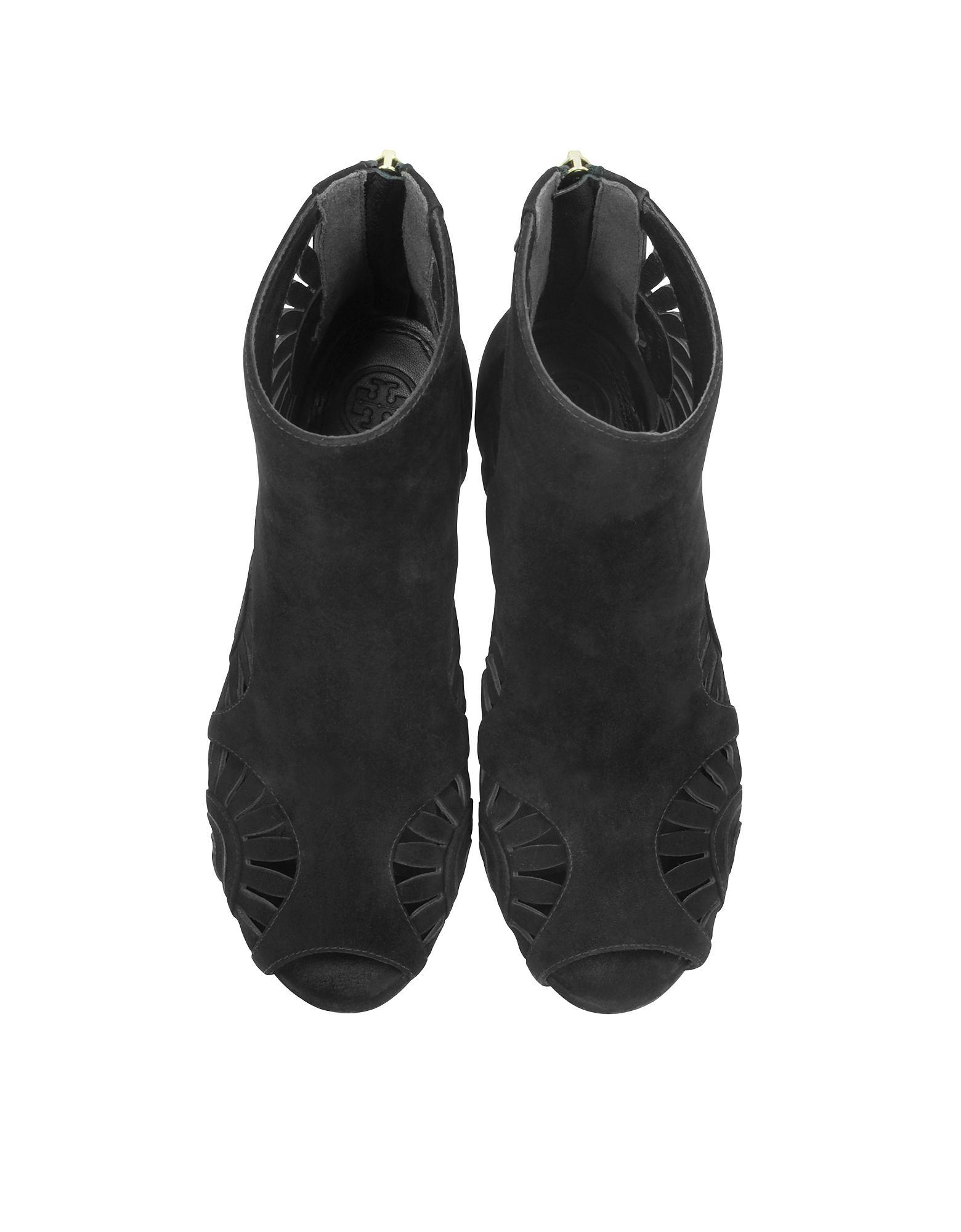 3d233f691 Lyst - Tory Burch Leyla Black Suede Heel Bootie in Black